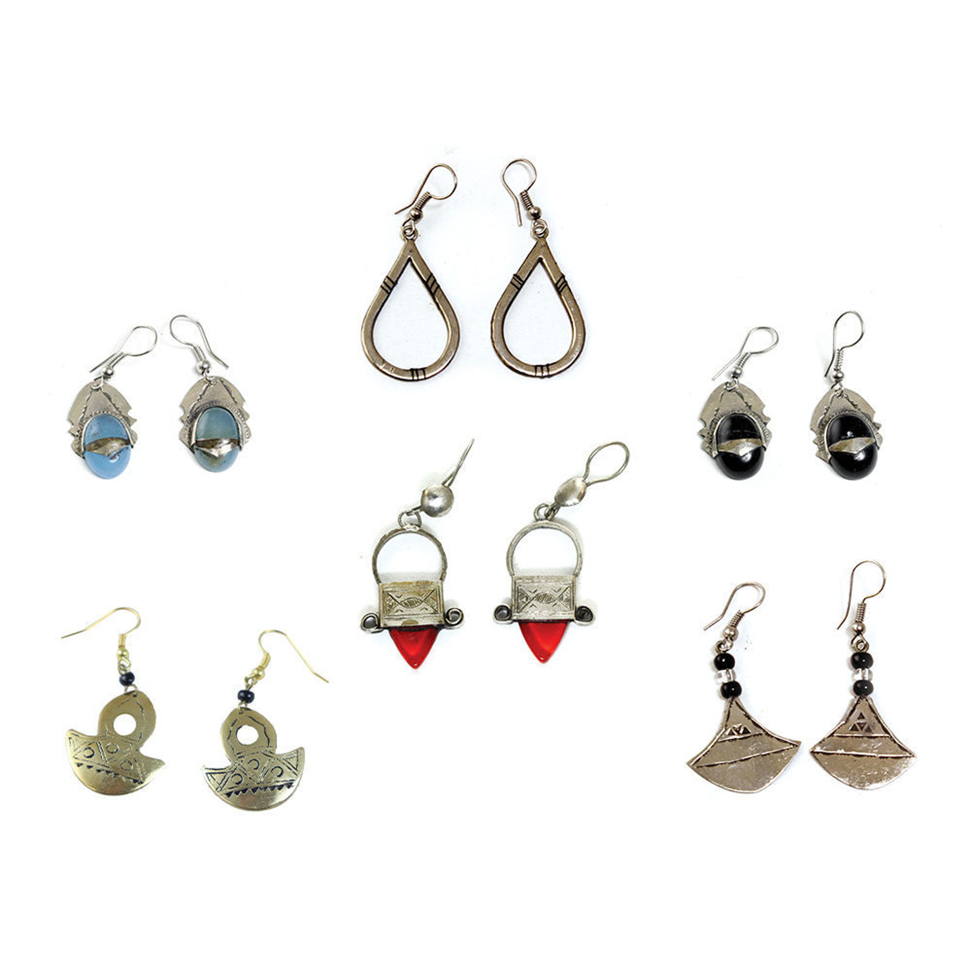 Picture of Set Of 6 Tuareg Silver Earrings