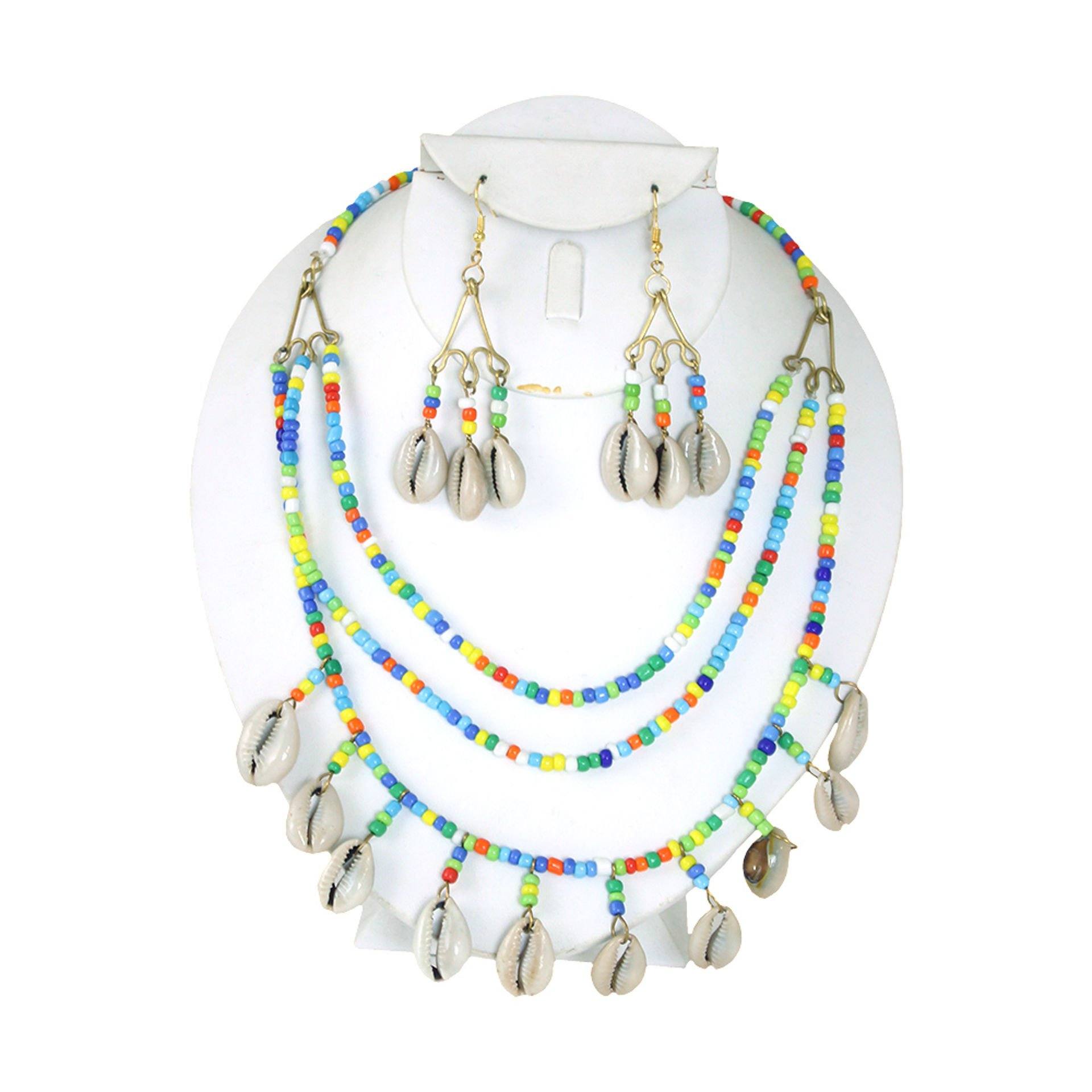 Picture of Beaded Cowrie Shell Rainbow Necklace Set