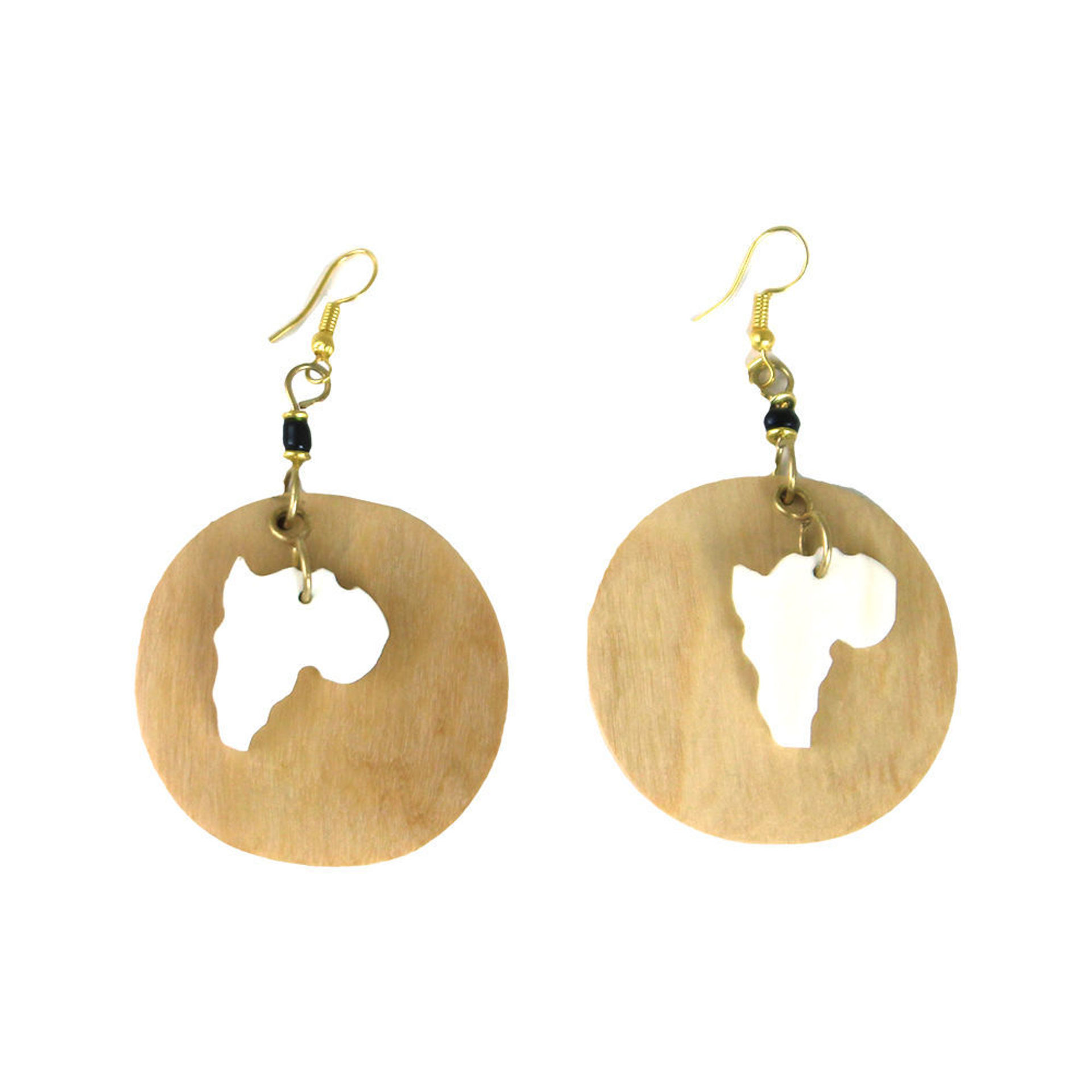 Picture of Africa Map Wood & Bone Earrings