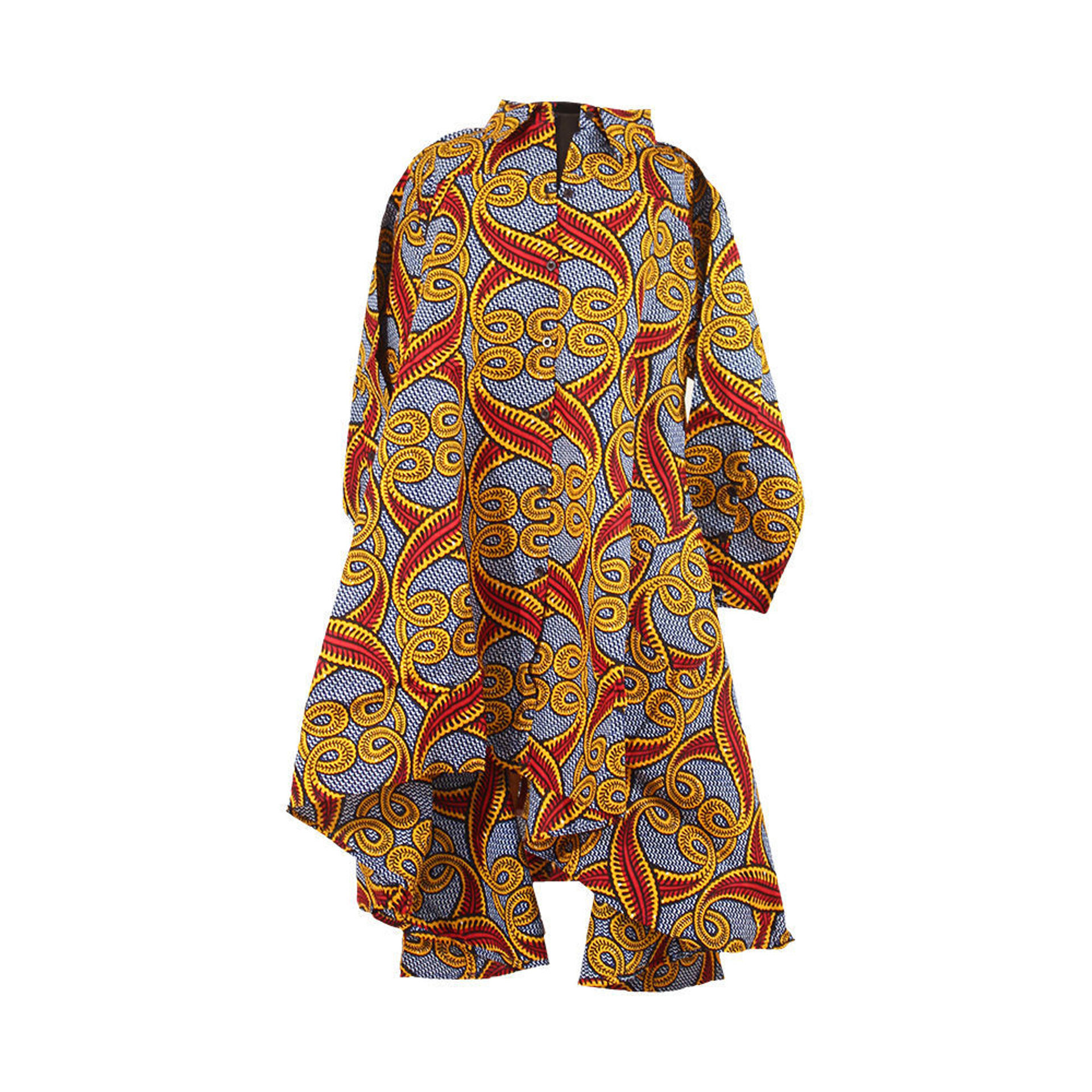 Picture of African Print Hi-Lo Shirt: Feather Print