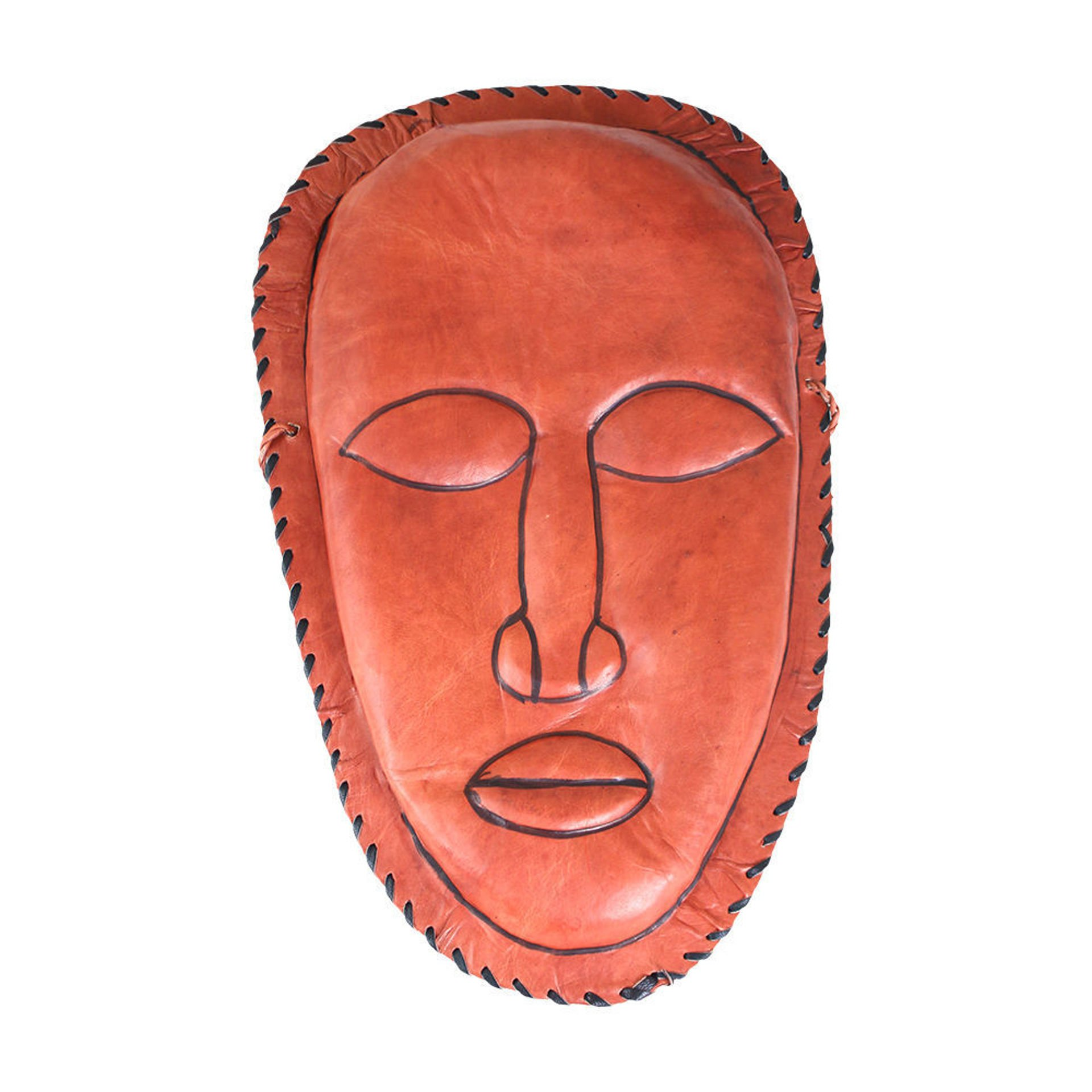 Picture of Brown Leather Purse - Mask Design XL