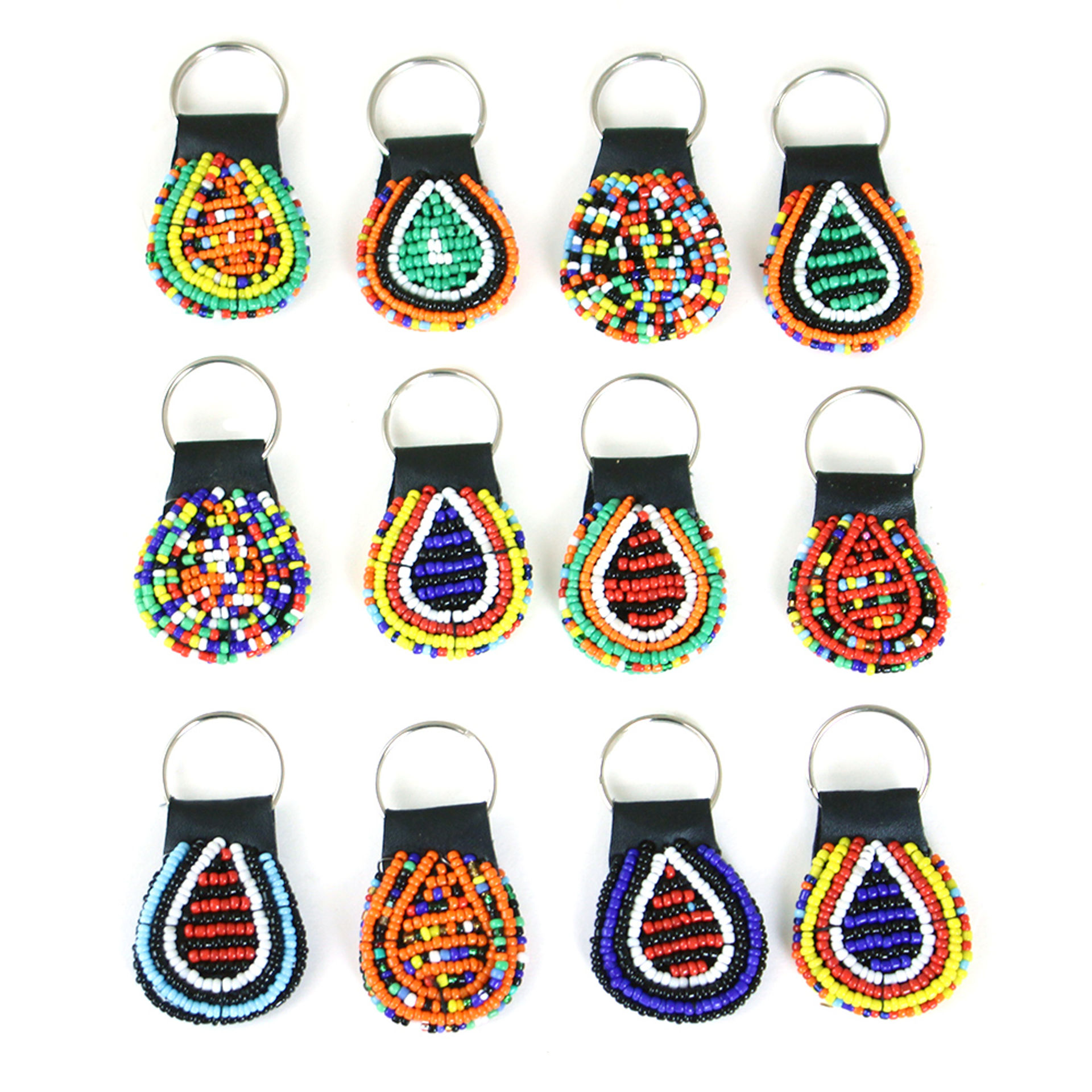 Picture of Set Of 12 Round Beaded Maasai Key Chains