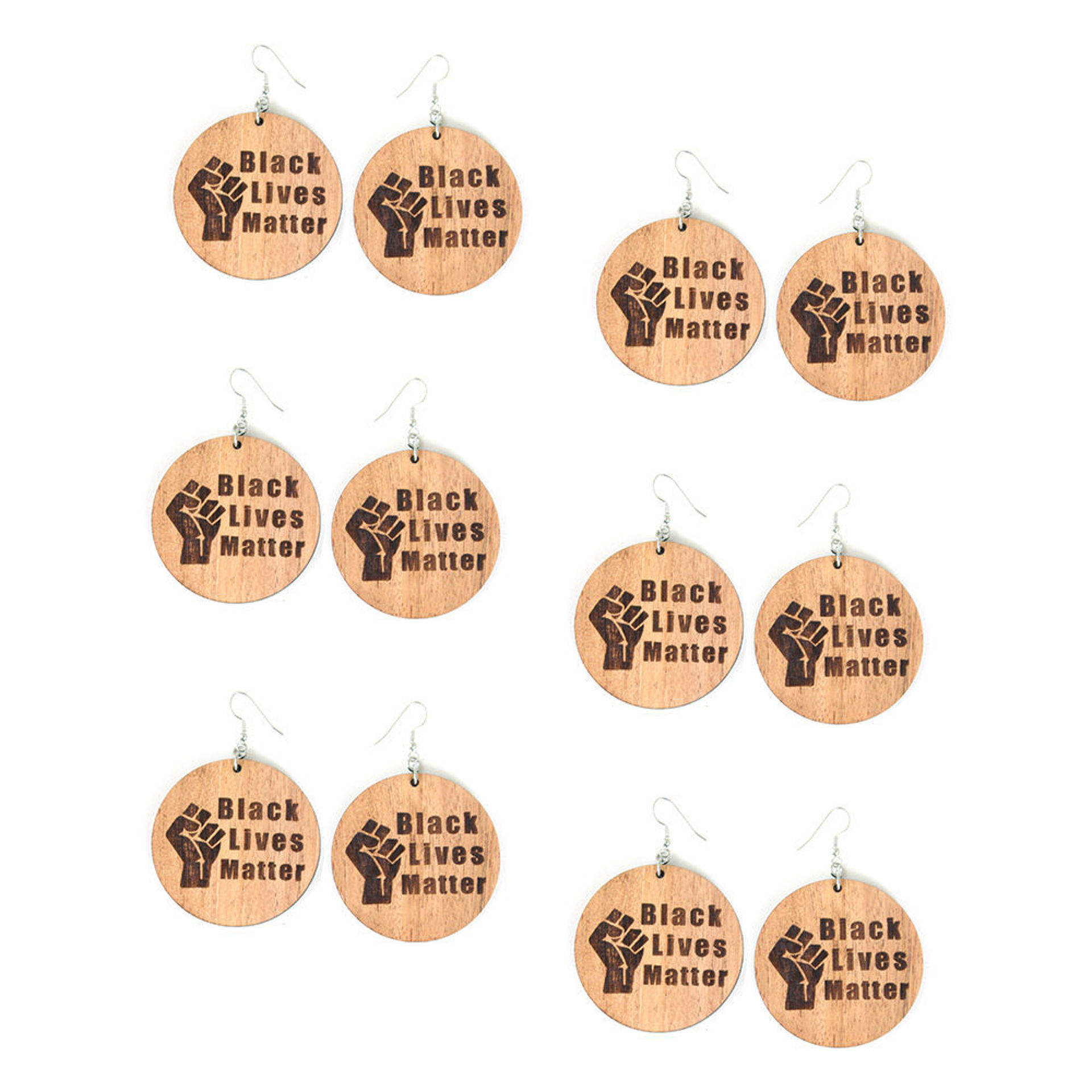 Picture of Set Of 6 Wood BLM Earrings Style-B