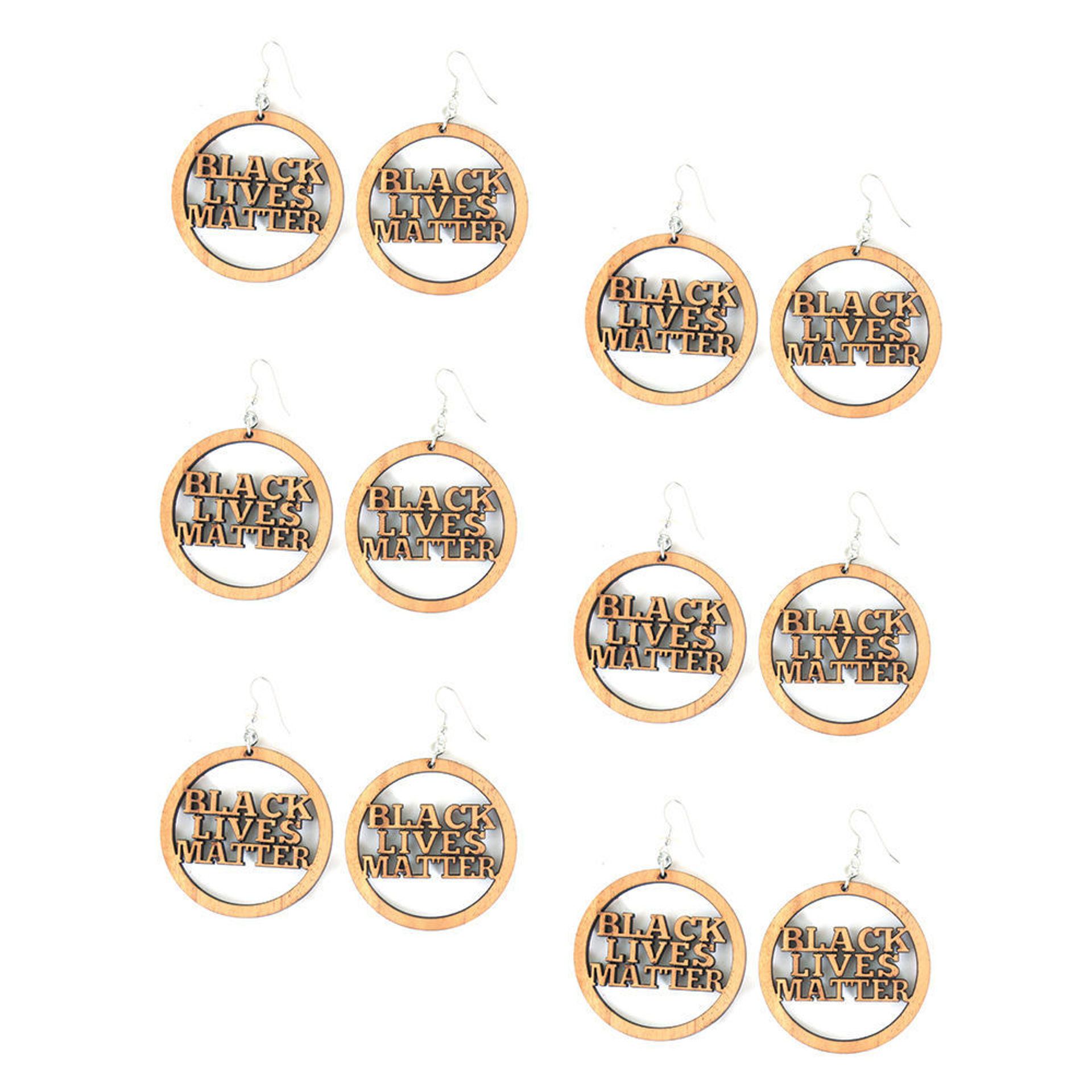 Picture of Set Of 6 Wood BLM Earrings Style-A