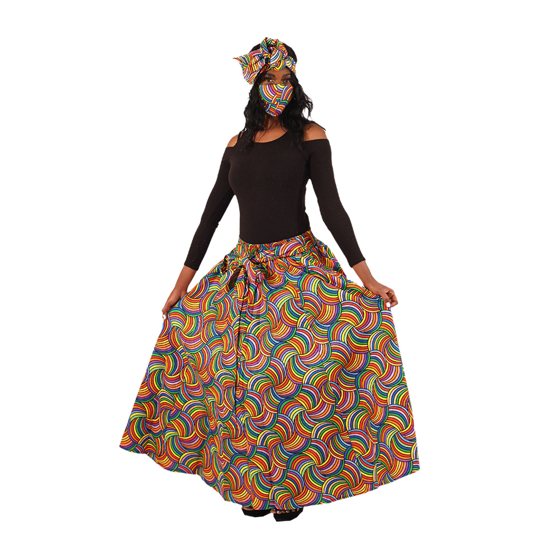 Picture of Colorful Long Skirt with Mask