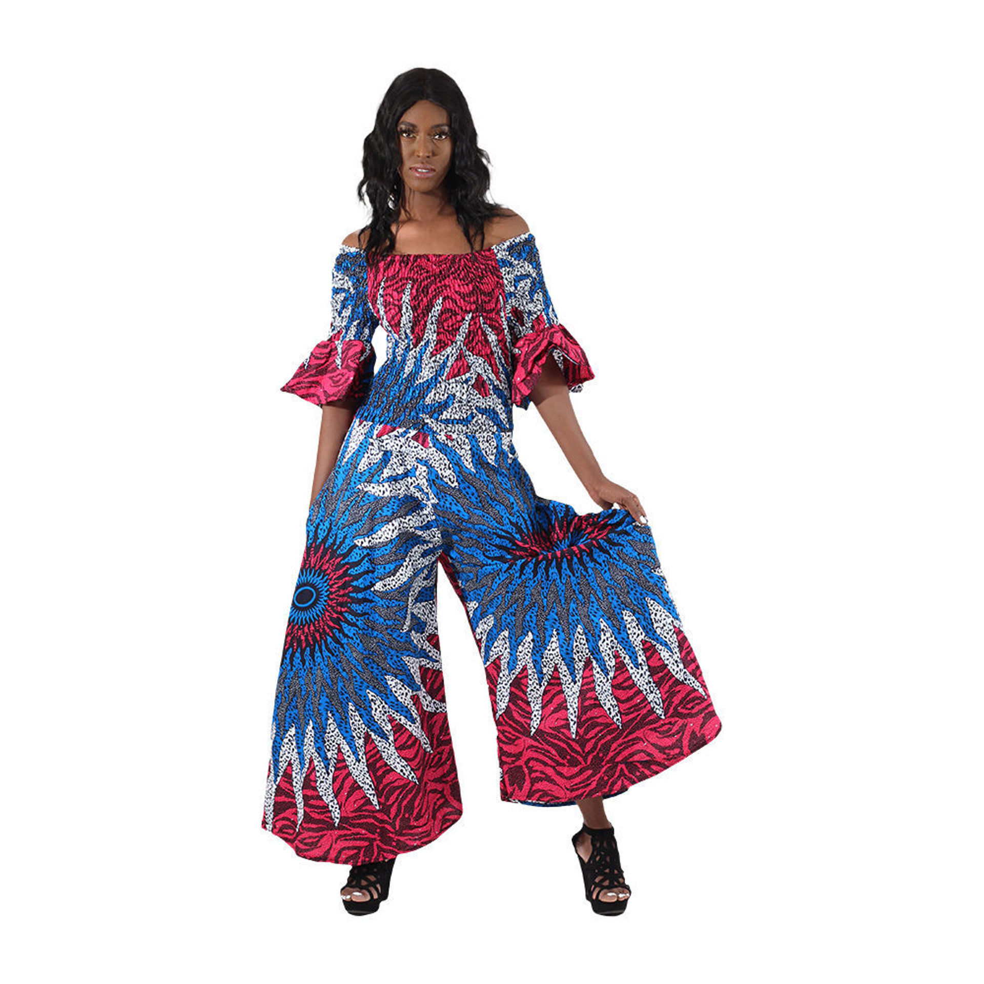 Picture of African Blue/Pink Sun Elastic Jumpsuit
