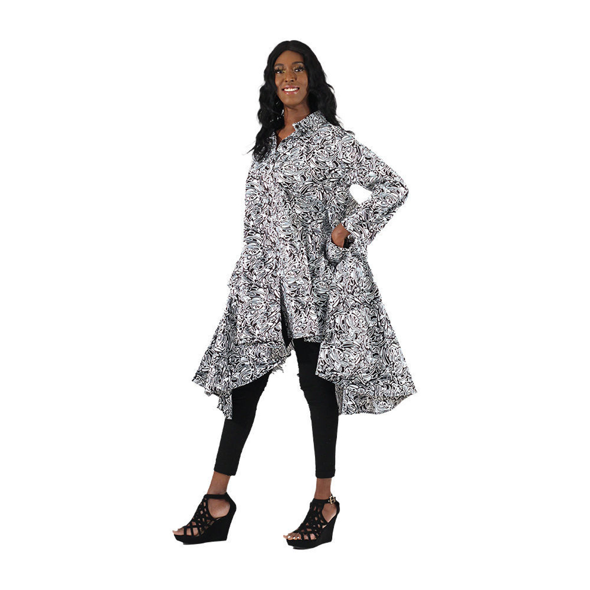 Picture of African Print Hi-Lo Shirt: Black & White