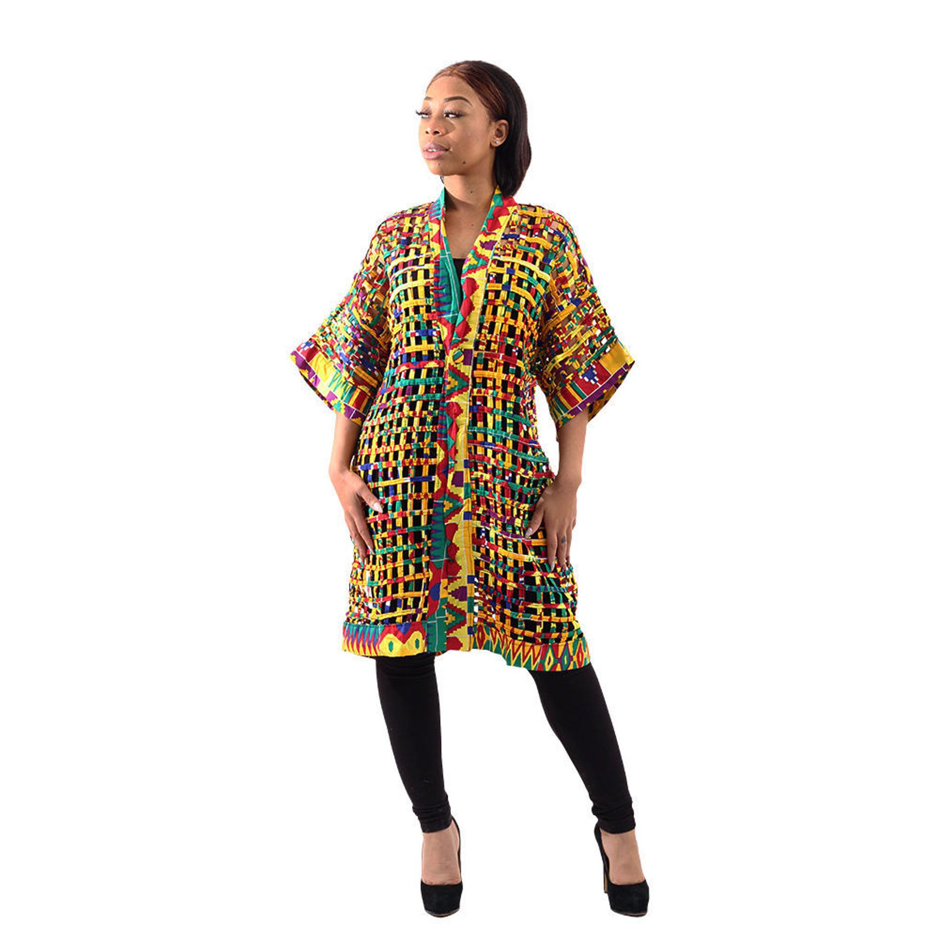 Picture of African-Made Kente Mesh Cape-Jacket