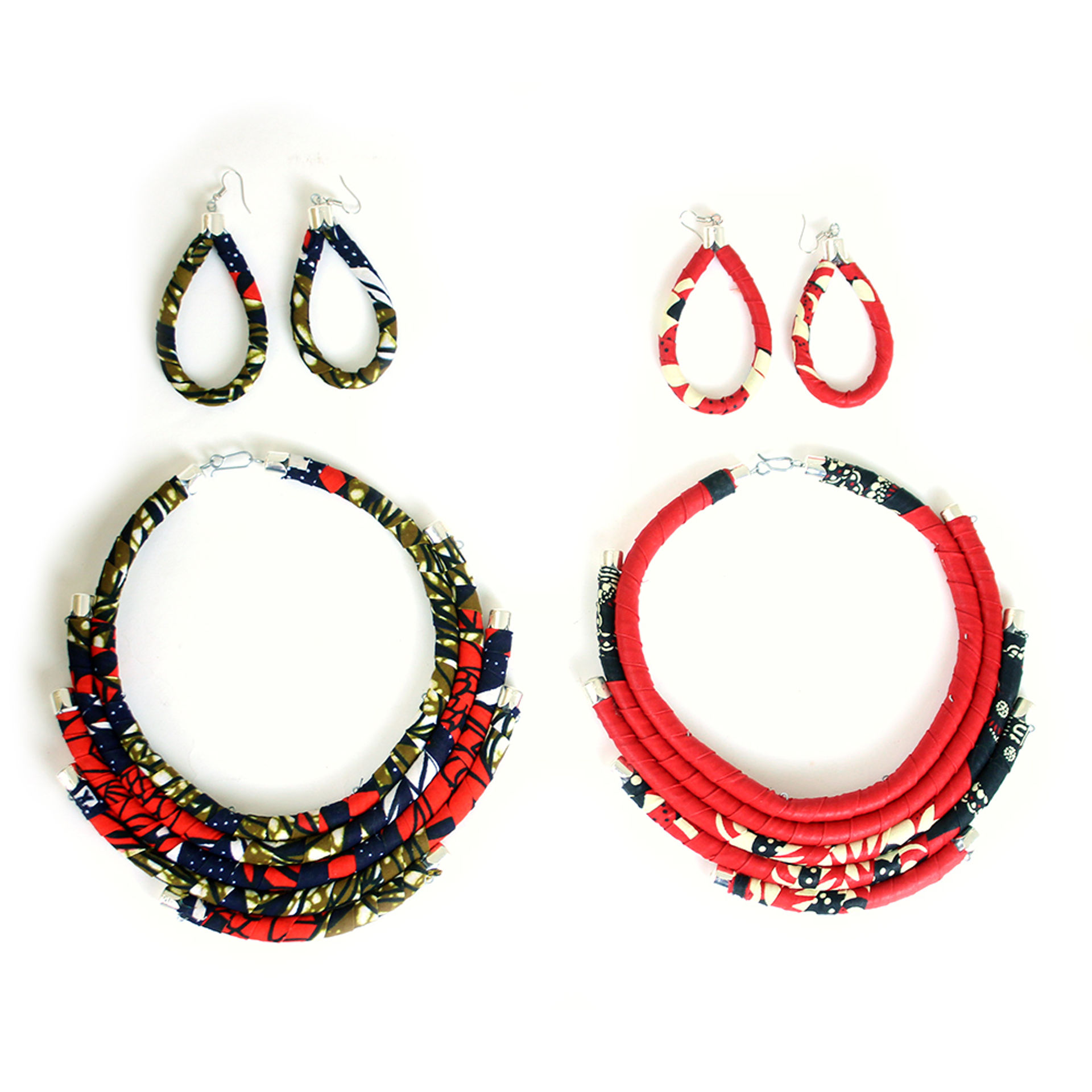 Picture of Red Kitenge Necklace Set - ASSORTED