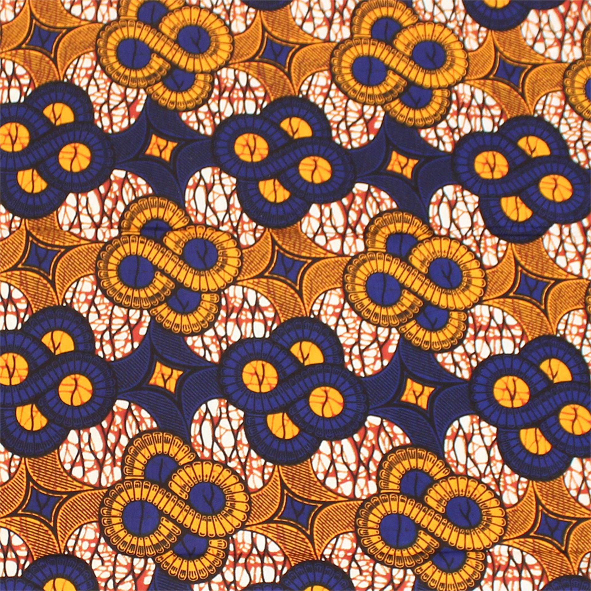 Picture of Orange/Blue African Print Fabric