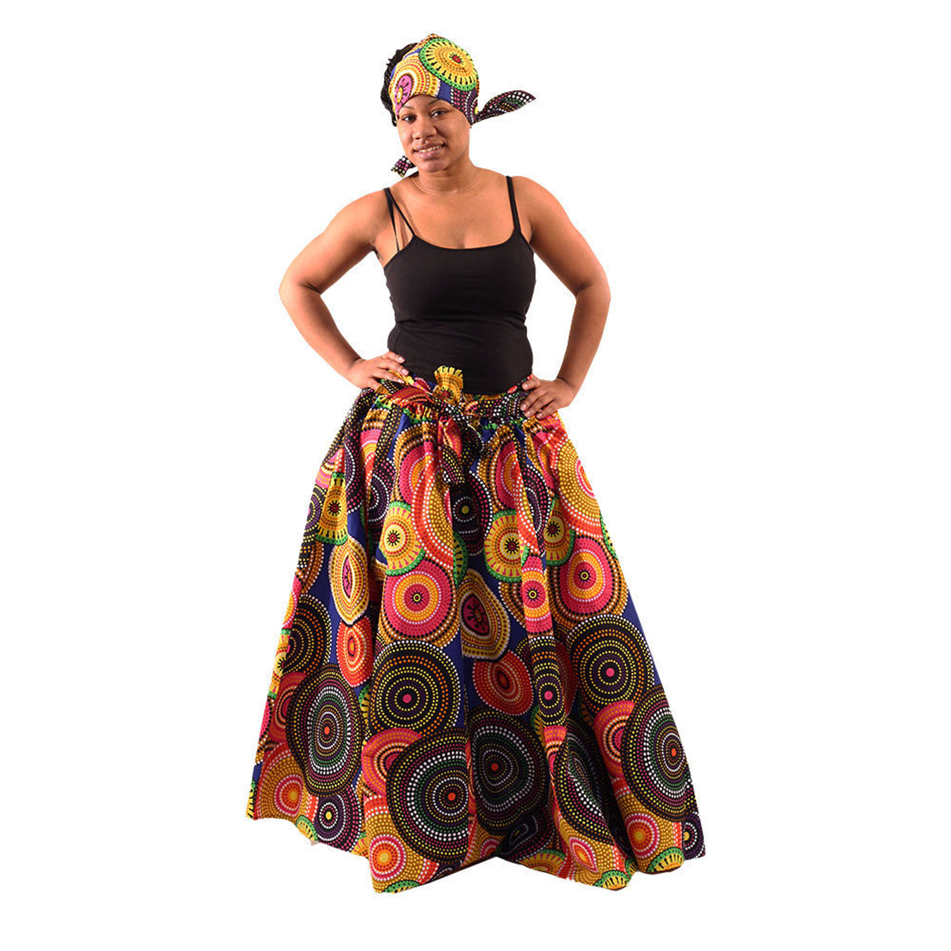 Picture of Multi-Color Circle Print Maxi Skirt