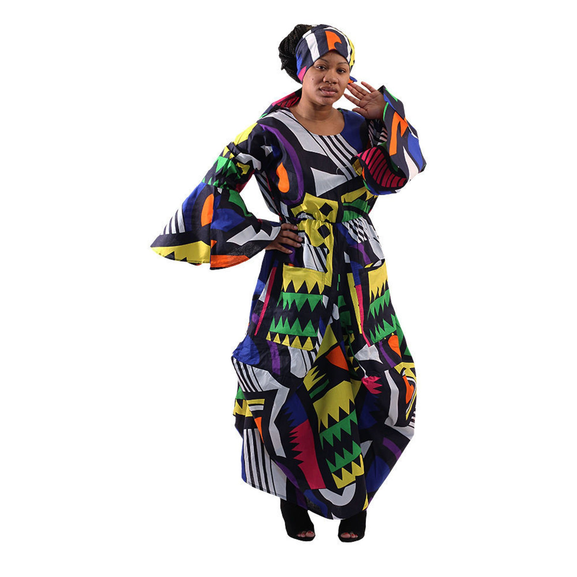 Picture of Abstract Print Flared Dress