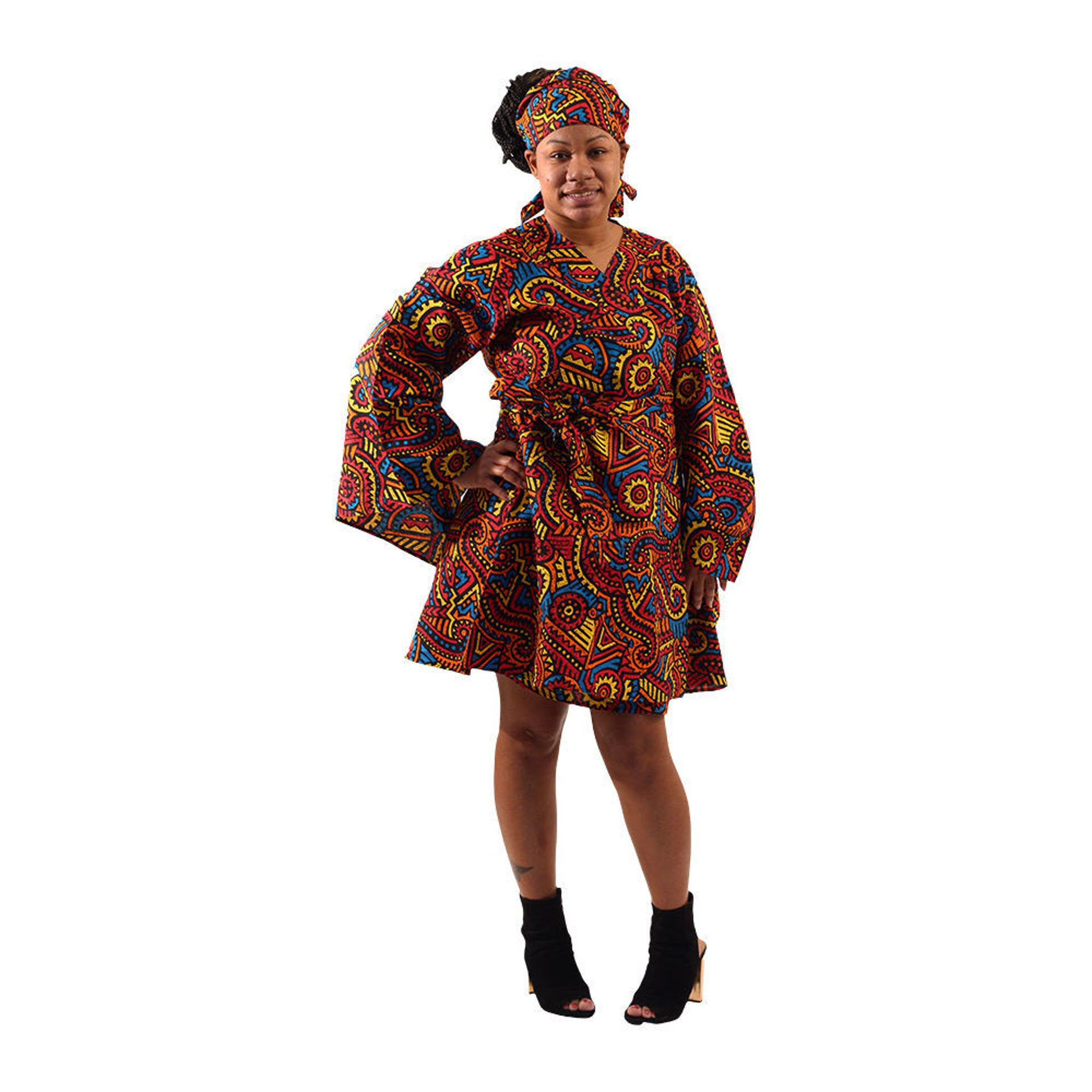 Picture of African Culture Print Short Wrap Dress