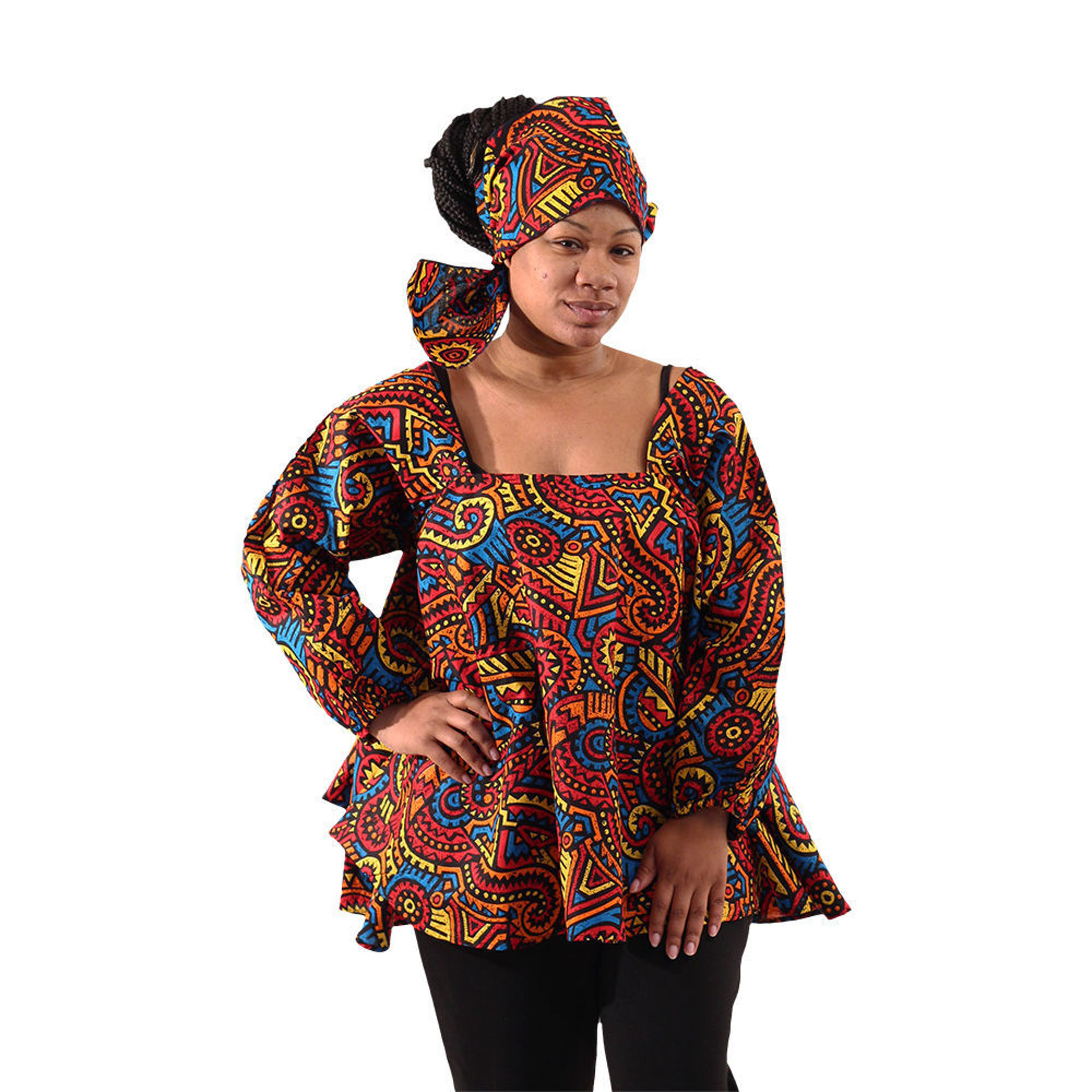 Picture of African Culture Print Umbrella Top