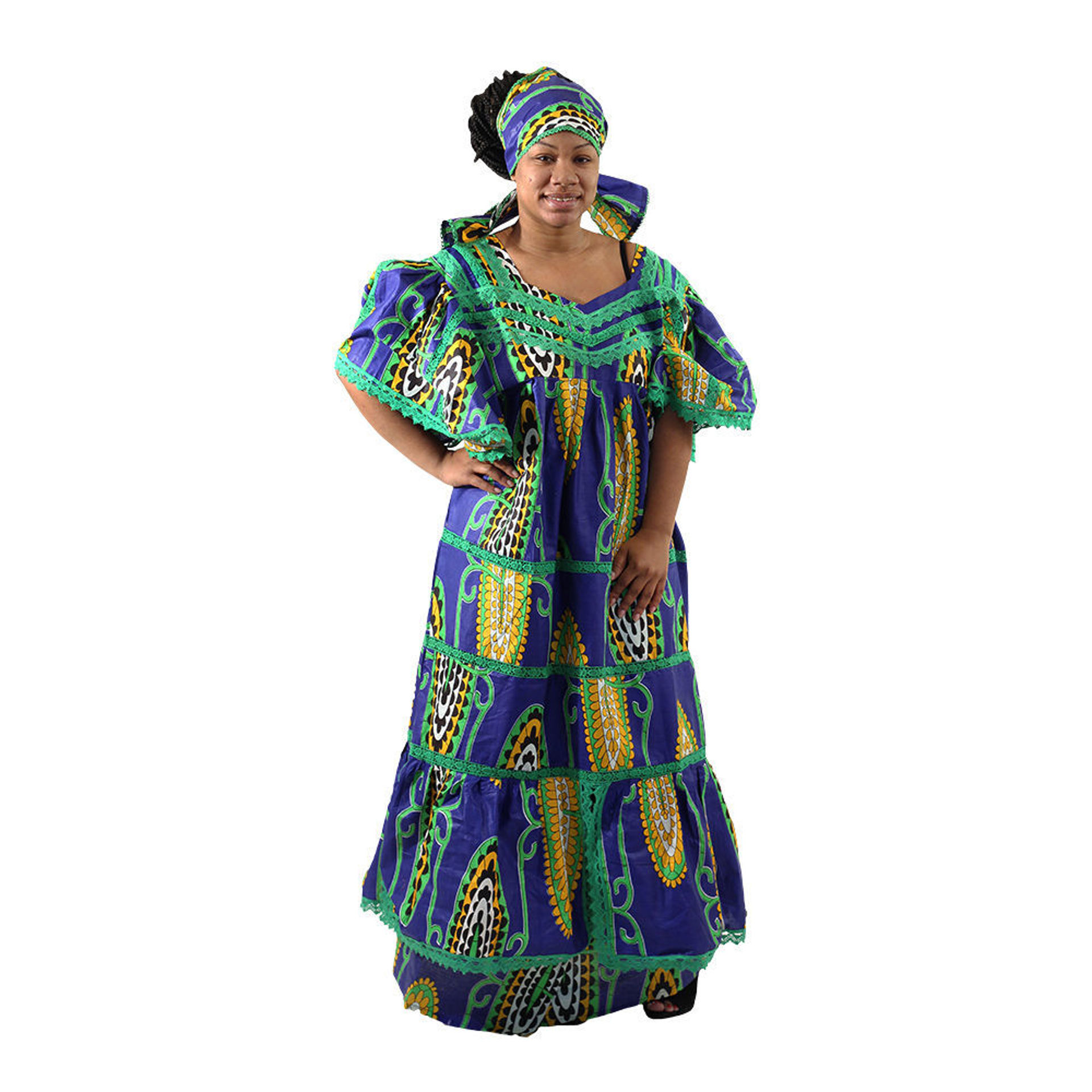 Picture of Blue African Print Lace Skirt Set