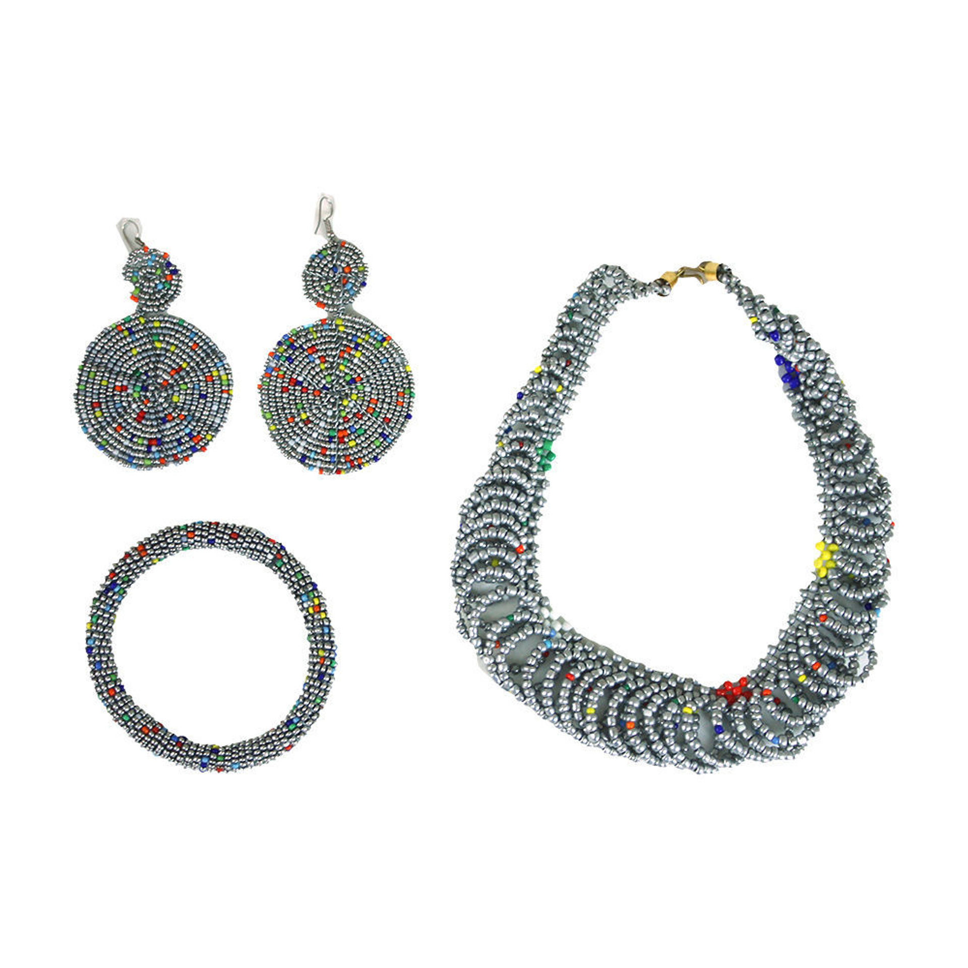 Picture of Silver Maasai Bead Jewelry Set