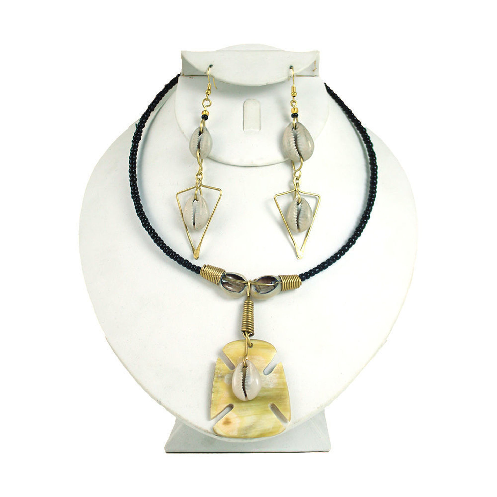 Picture of Adinkra Bone Cross Necklace Set - Small