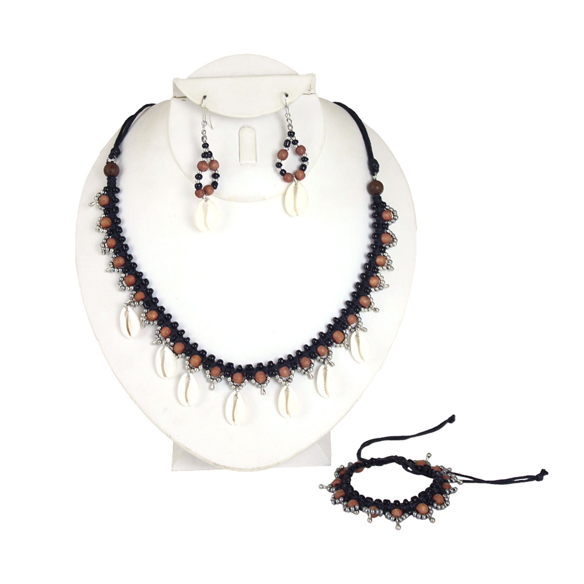 Picture of Multi-Beaded Cowrie Shell Necklace Set