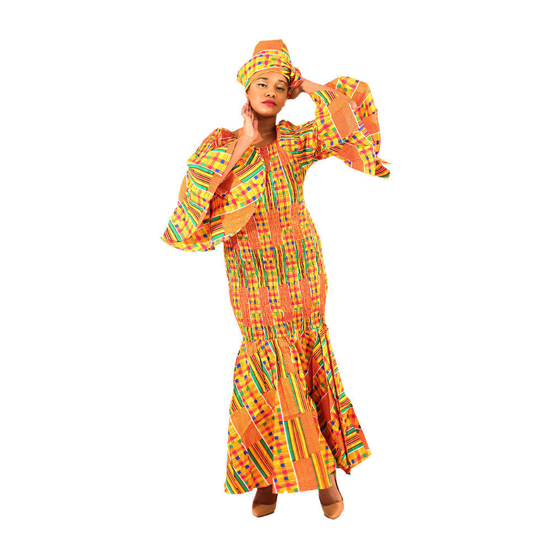 Picture of Kente #1 Bell Sleeve Mermaid Dress