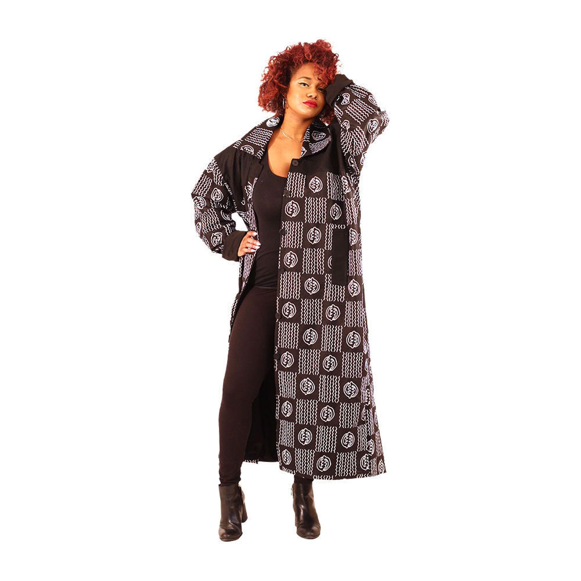 Picture of Black & White Gye Nyame Coat