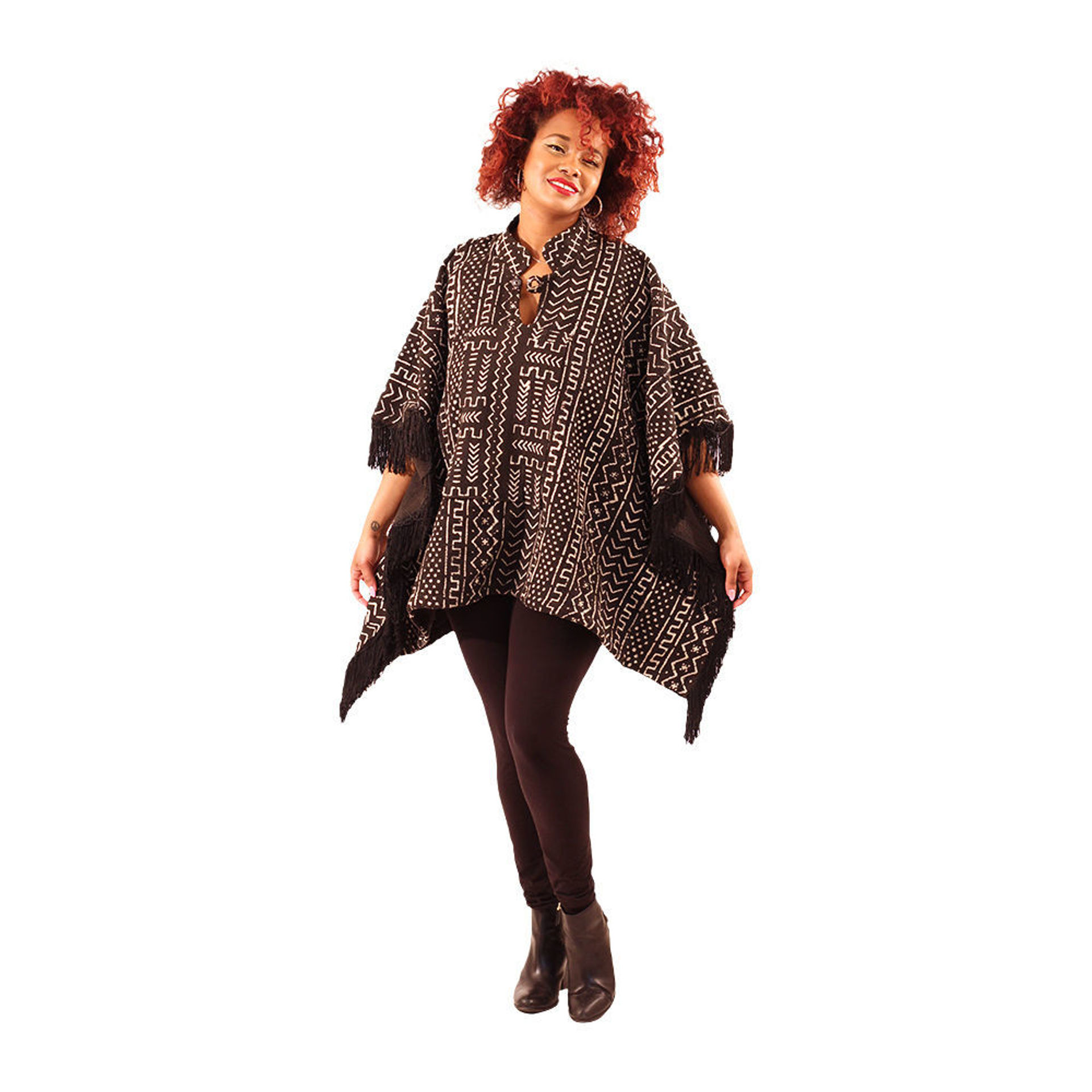 Picture of Mud Cloth Fringed Poncho