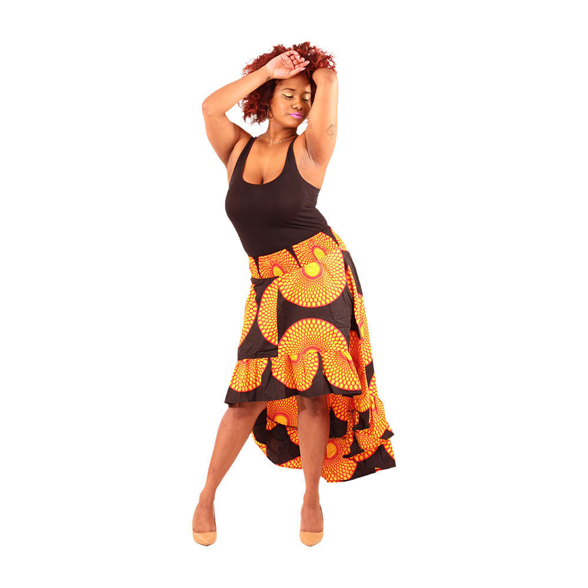 Picture of African Circle Print Hi-Lo Skirt