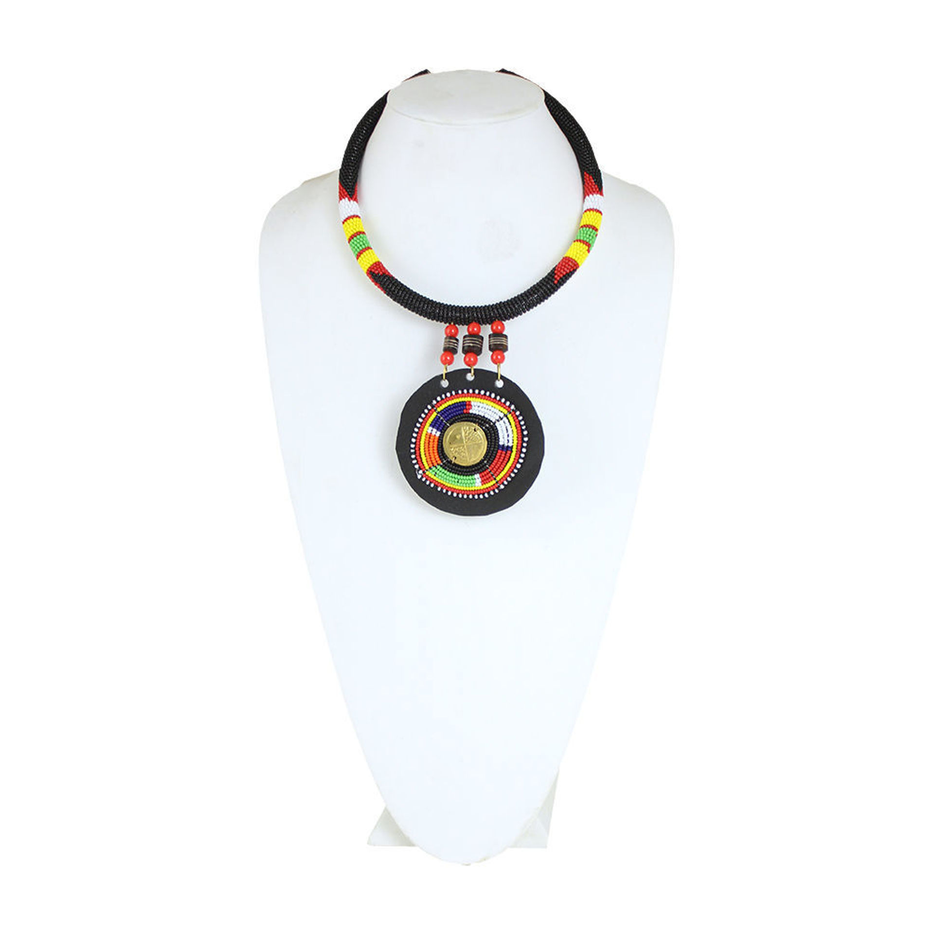 Picture of Maasai Bead/Leather Pendant Necklace