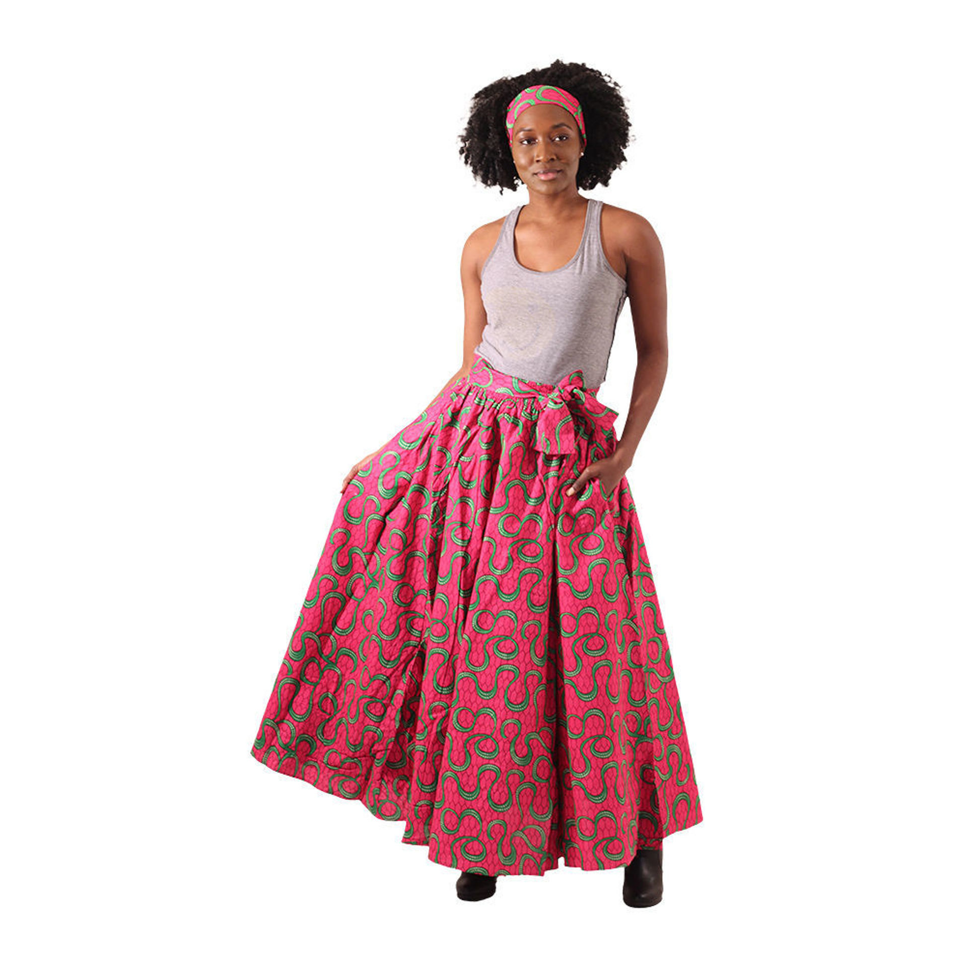 Picture of Pink African Print Maxi Skirt