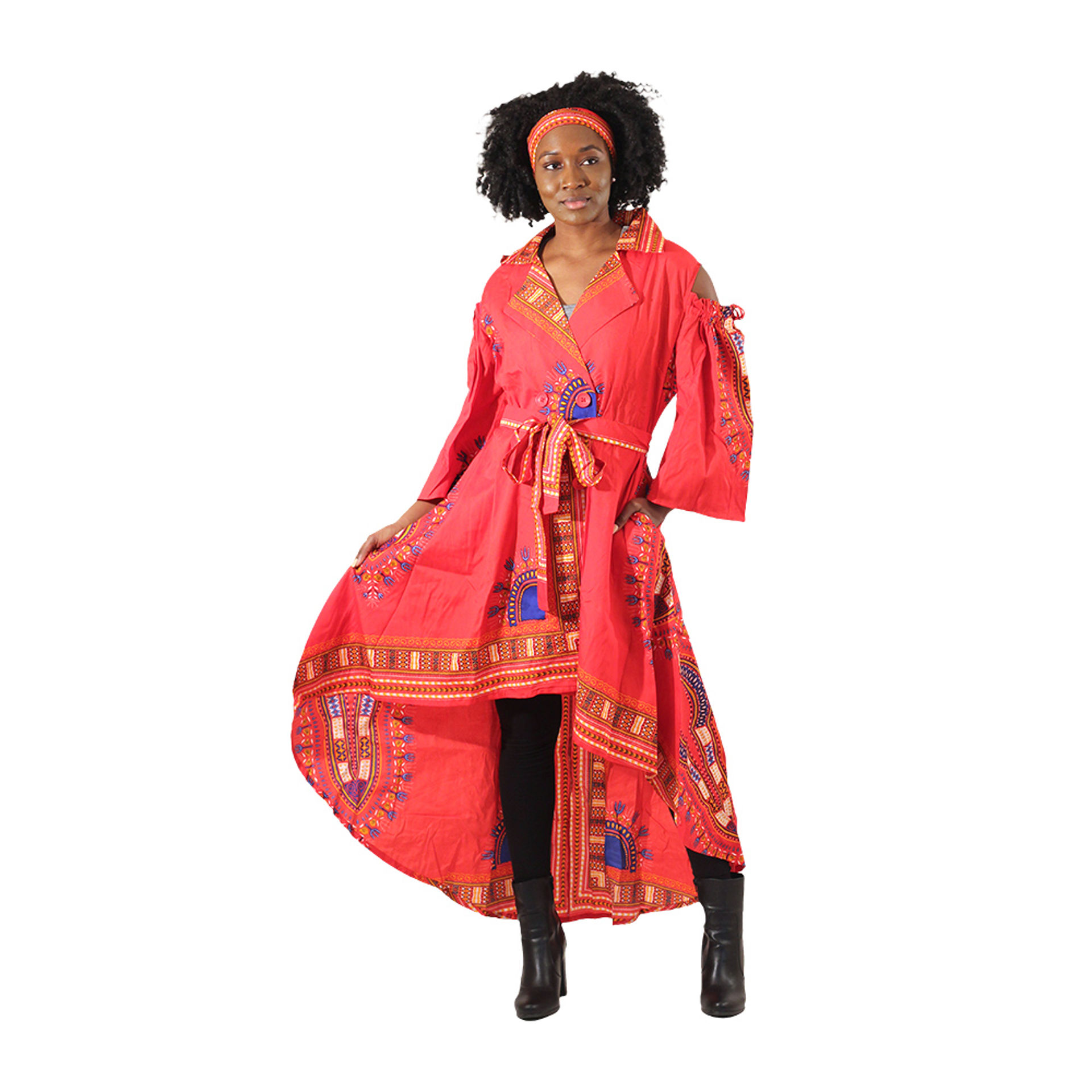 Picture of Red Traditional Cold-Shoulder Dress