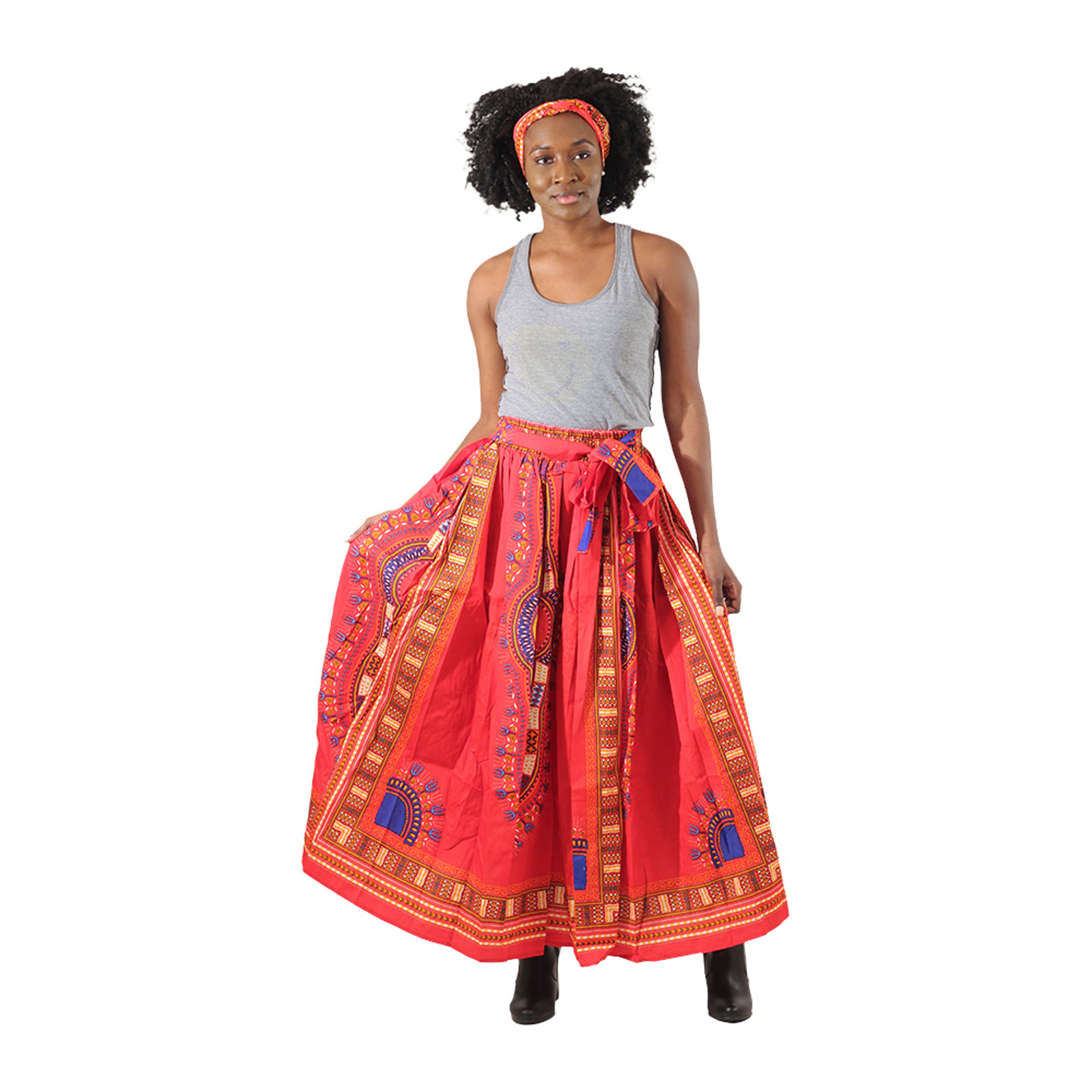 Picture of Red Traditional Print Maxi Tie Skirt