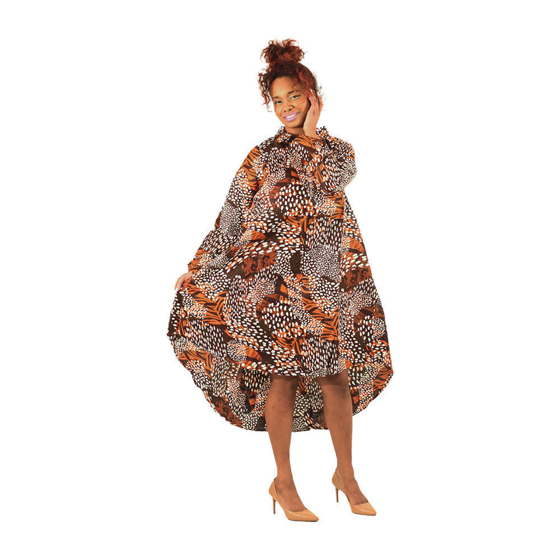 Picture of Brown Safari Print Bow-Back Dress