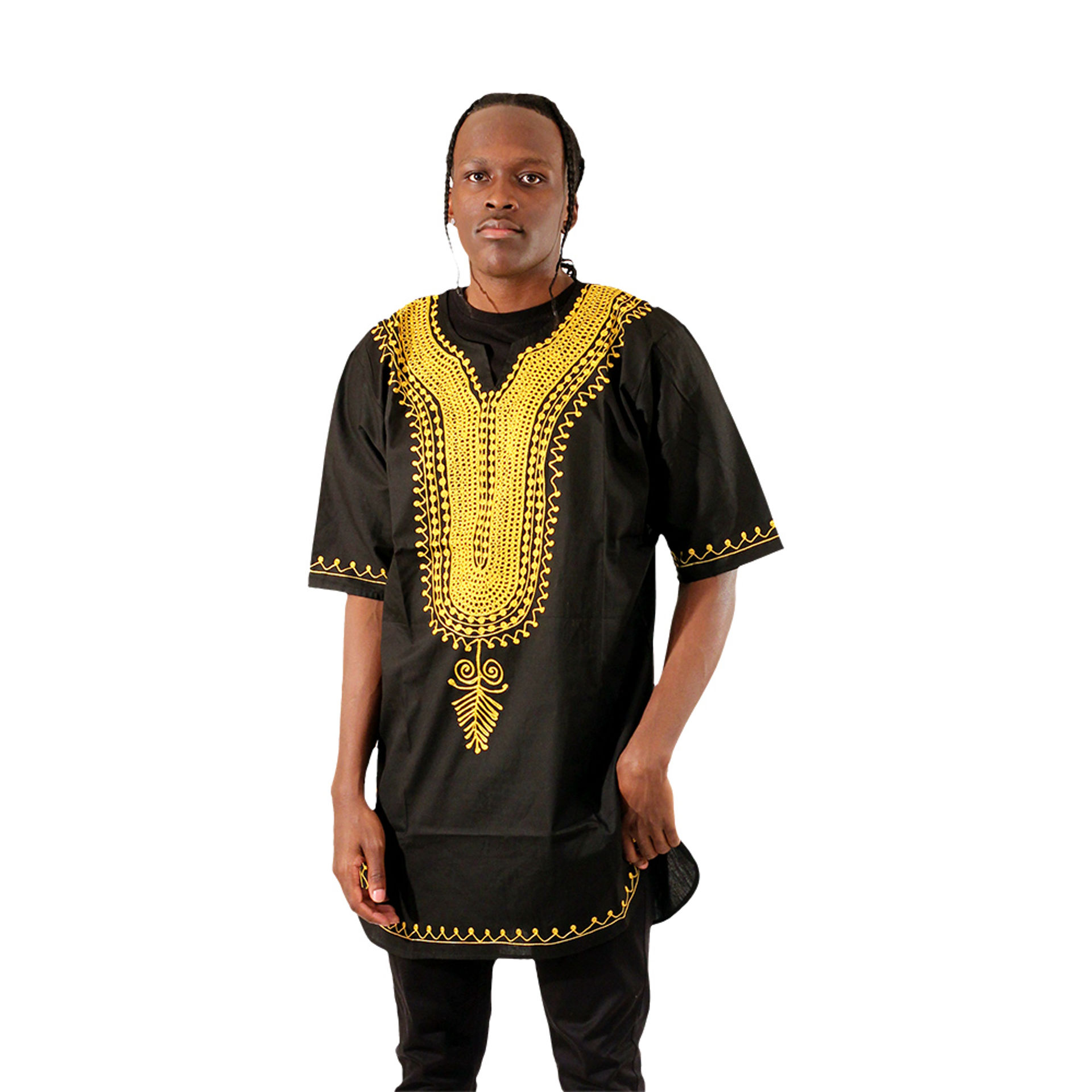 Picture of Gold Embroidered Dashiki: Black
