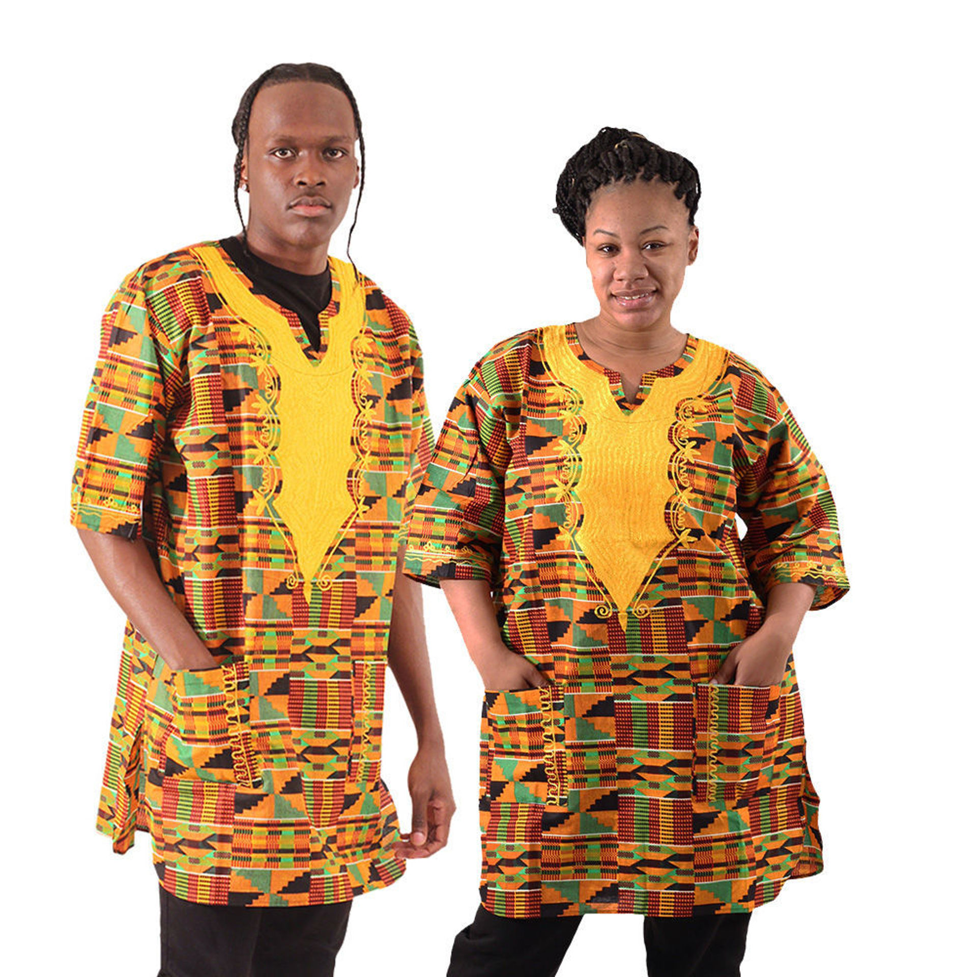 Picture of Gold Embroidered Kente Dashiki