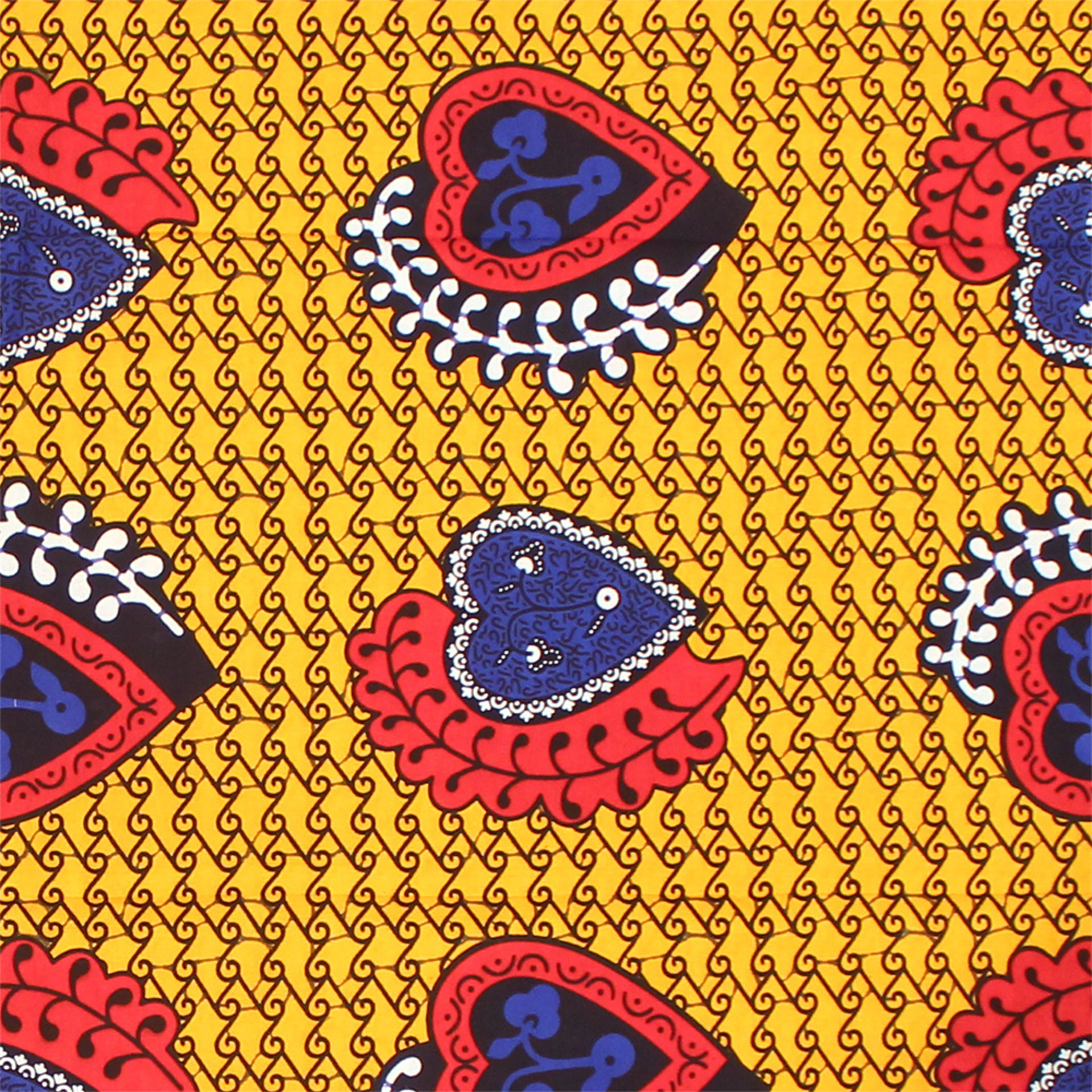 Picture of Yellow/Red/Blue Heart Print Fabric