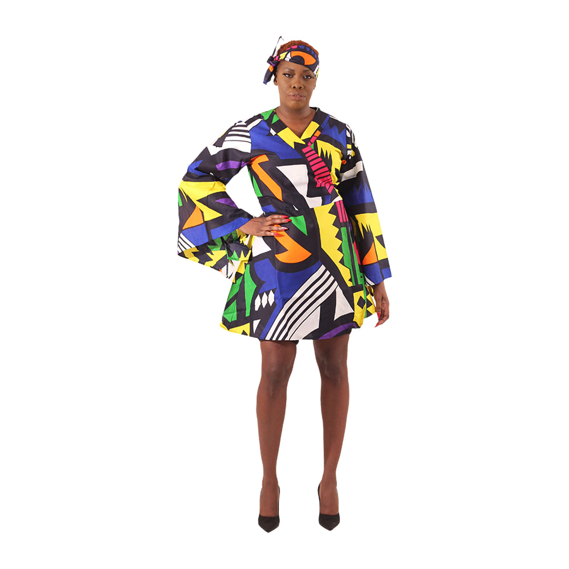 Picture of Afrocentric Print Short Wrap Dress