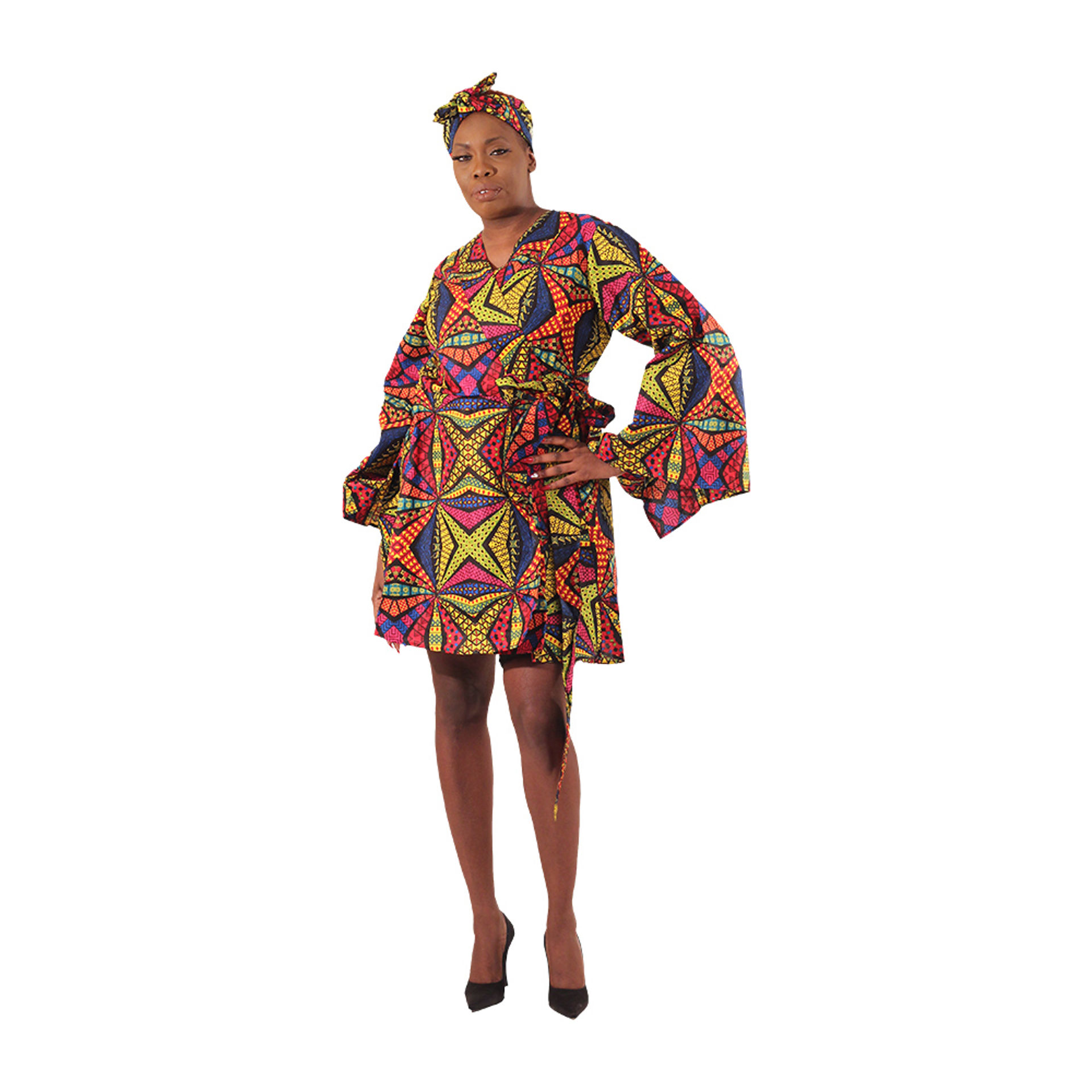 Picture of Kaleidoscope Print Short Wrap Dress