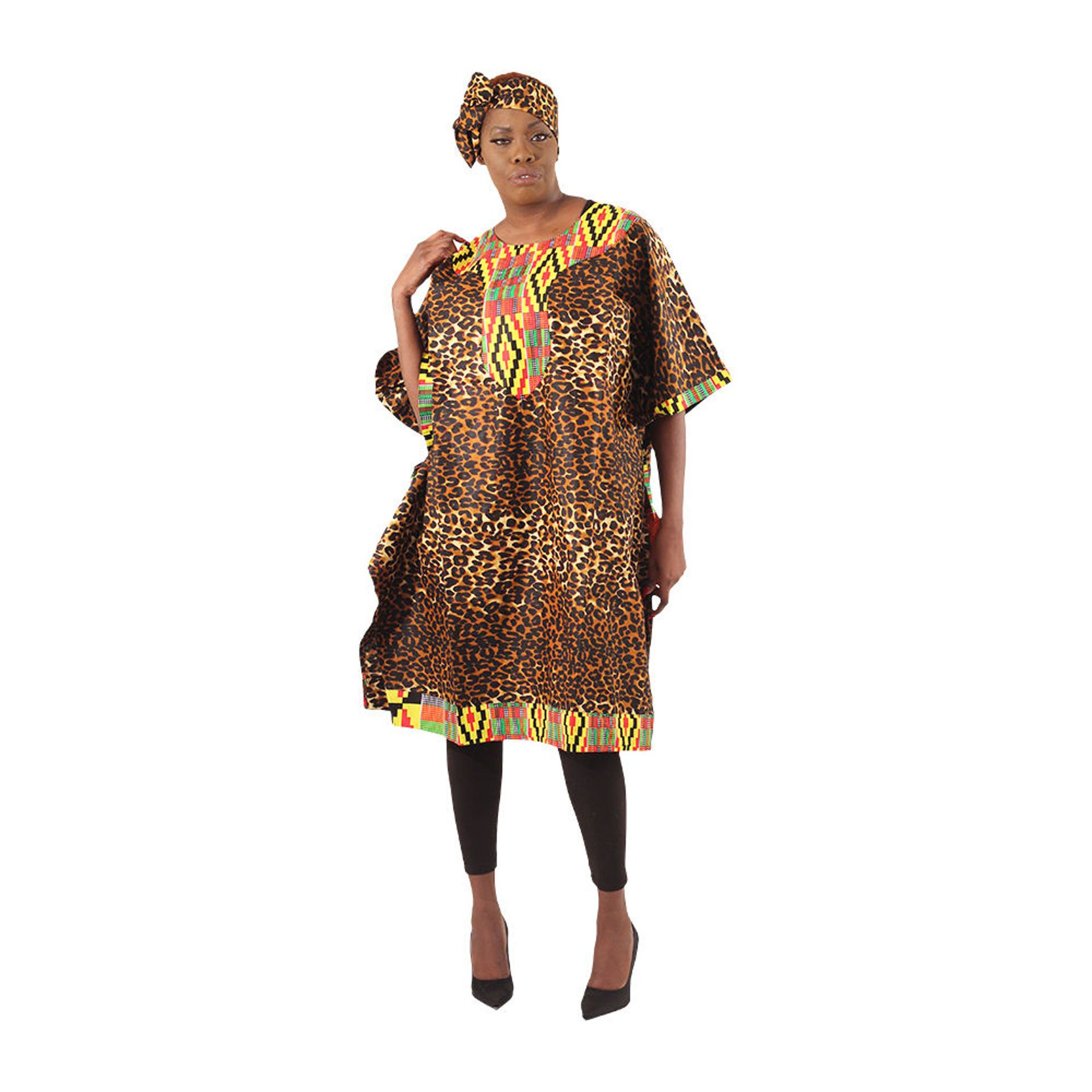 Picture of Kente & Leopard Patchwork Poncho