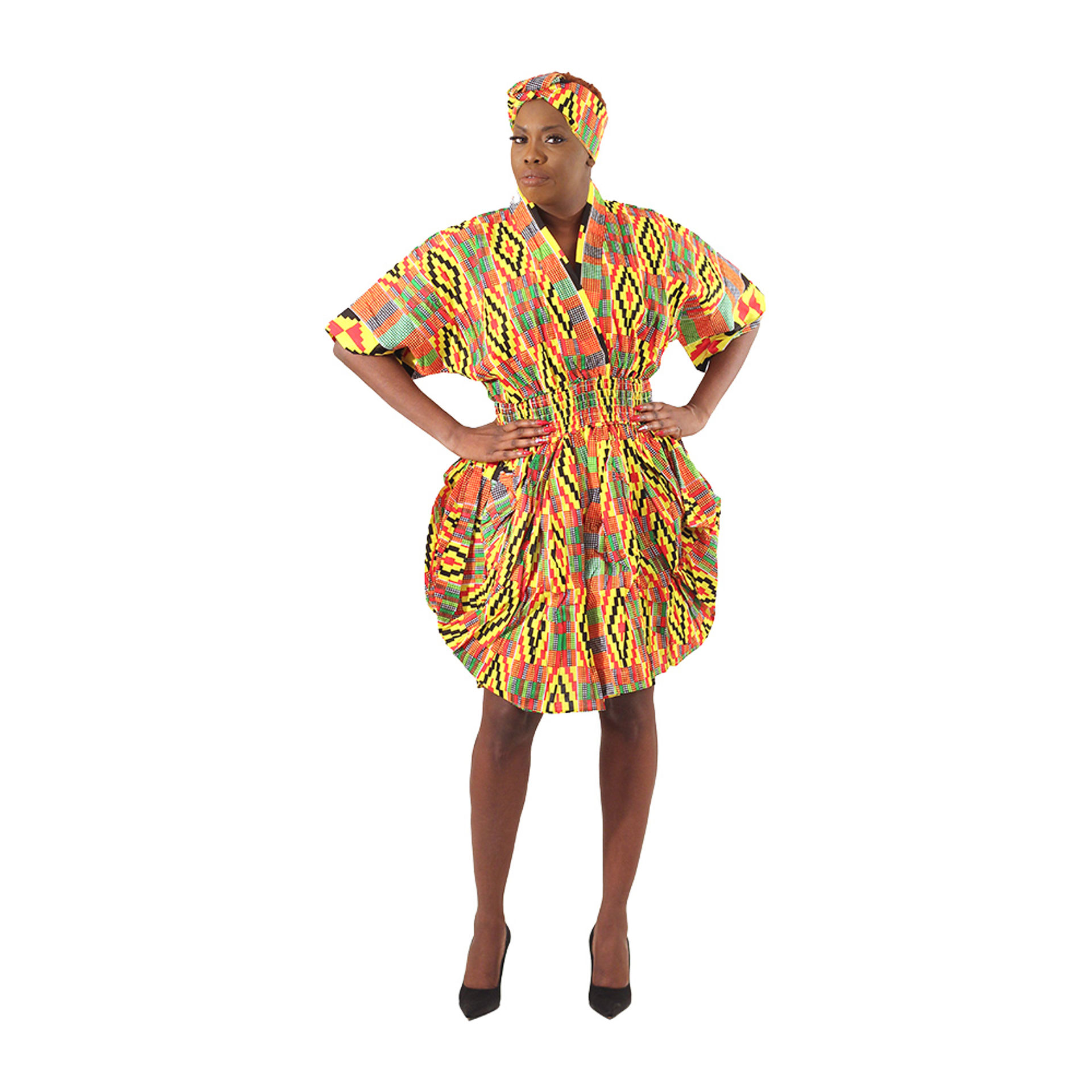 Picture of Kente Print Smocked Dress