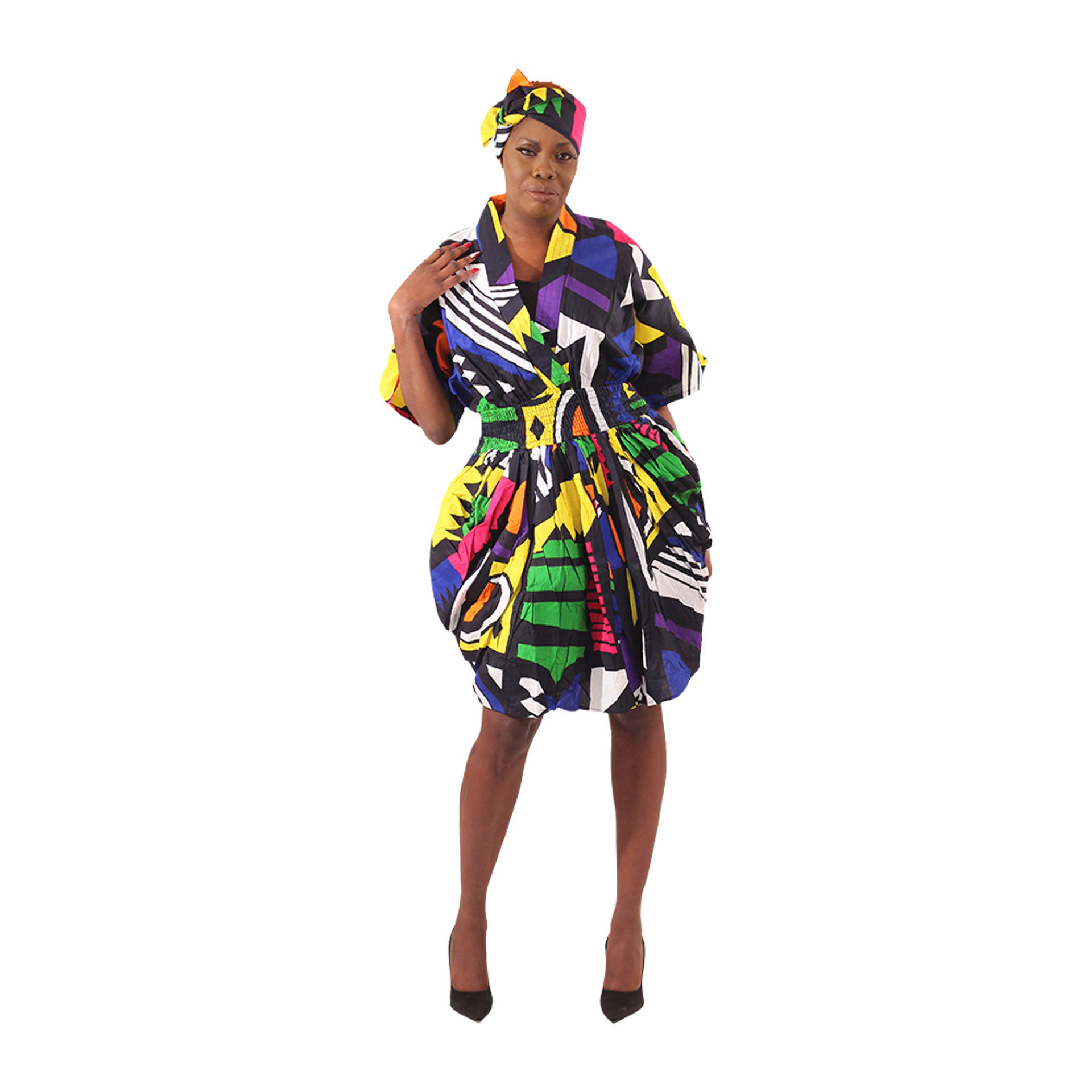 Picture of Afrocentric Print Smocked Dress