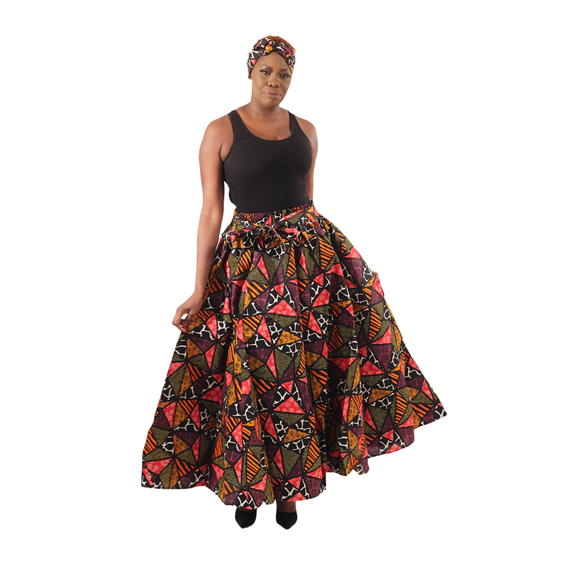 Picture of Dark Patchwork Print Maxi Skirt