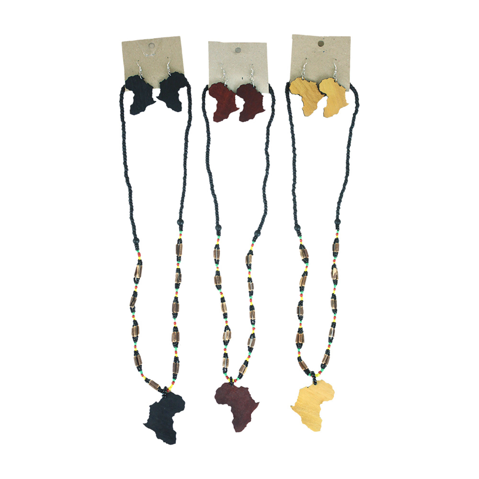 Picture of Set Of 3 Pan African Necklace & Earrings