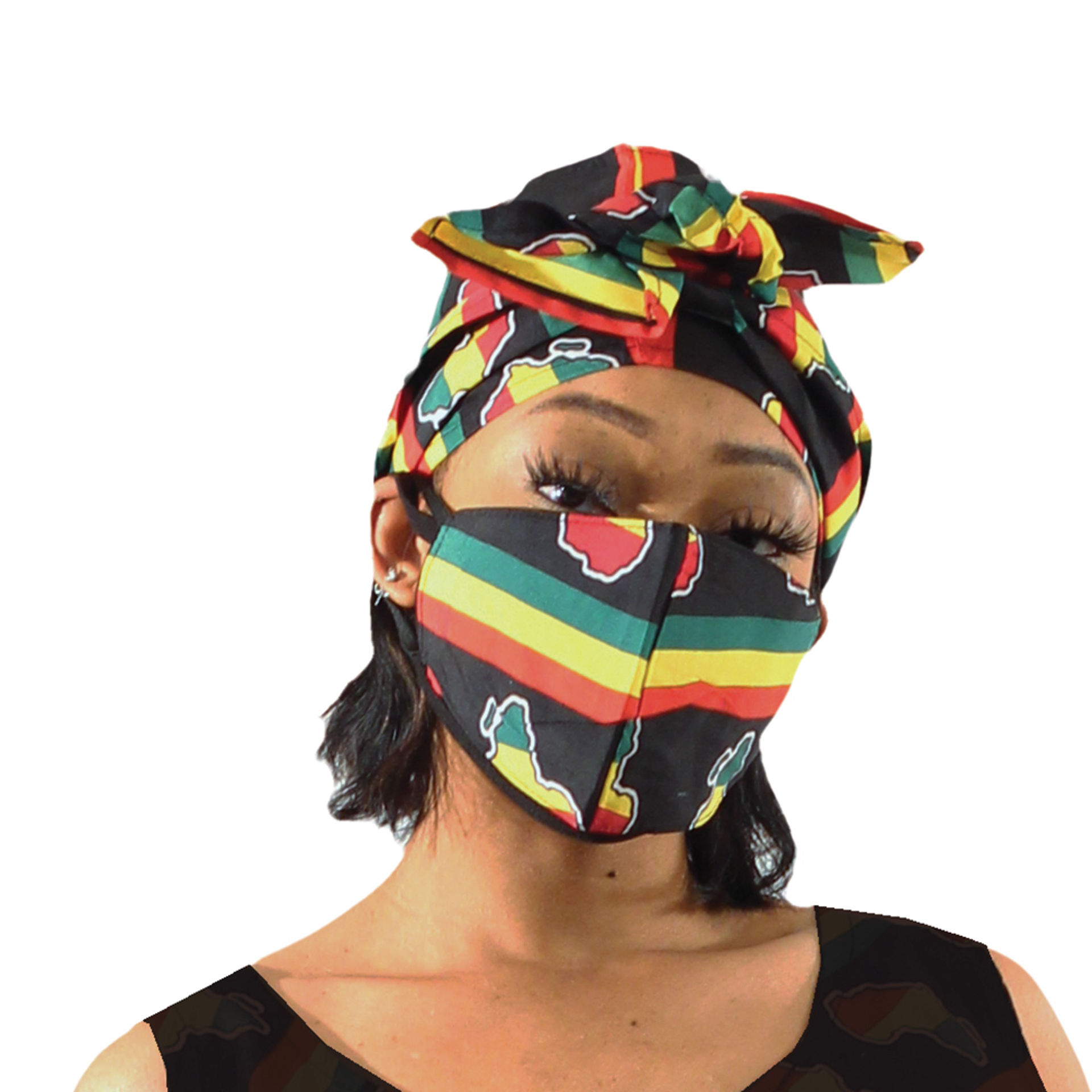 Picture of Pan African Mask & Head Wrap Set
