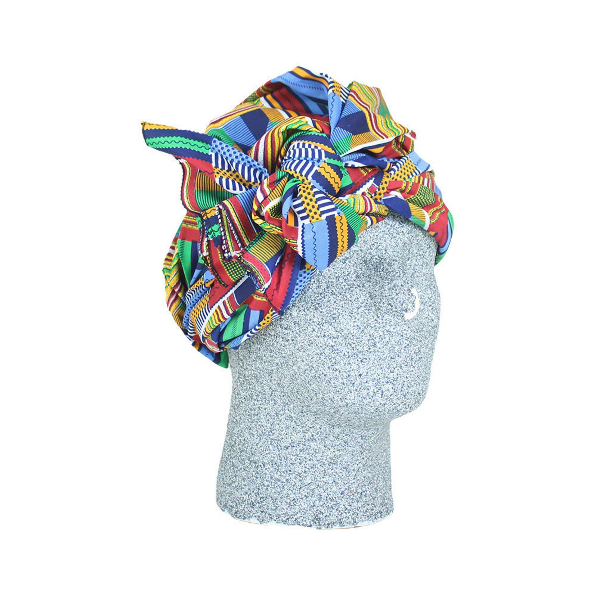Picture of Red/Blue/Orange/Green Kente Head Wrap