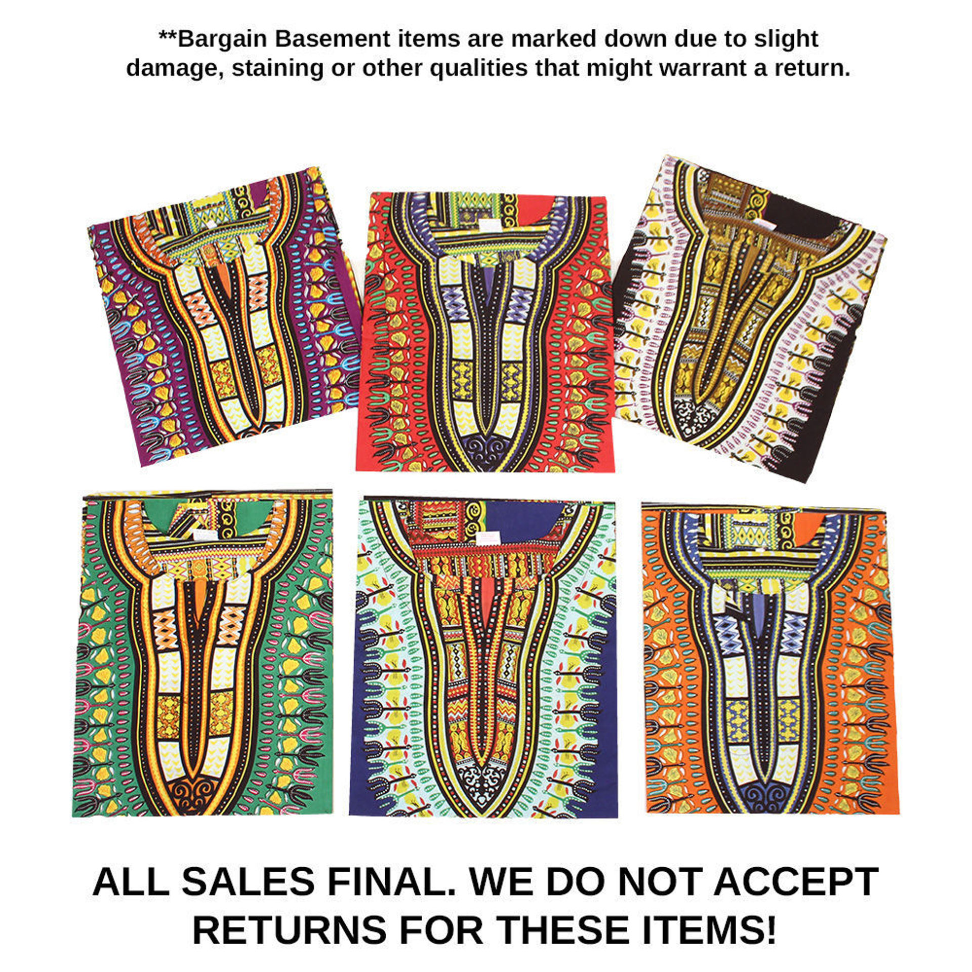 Picture of DAMAGED Set Of 6 Trad Print Dashikis