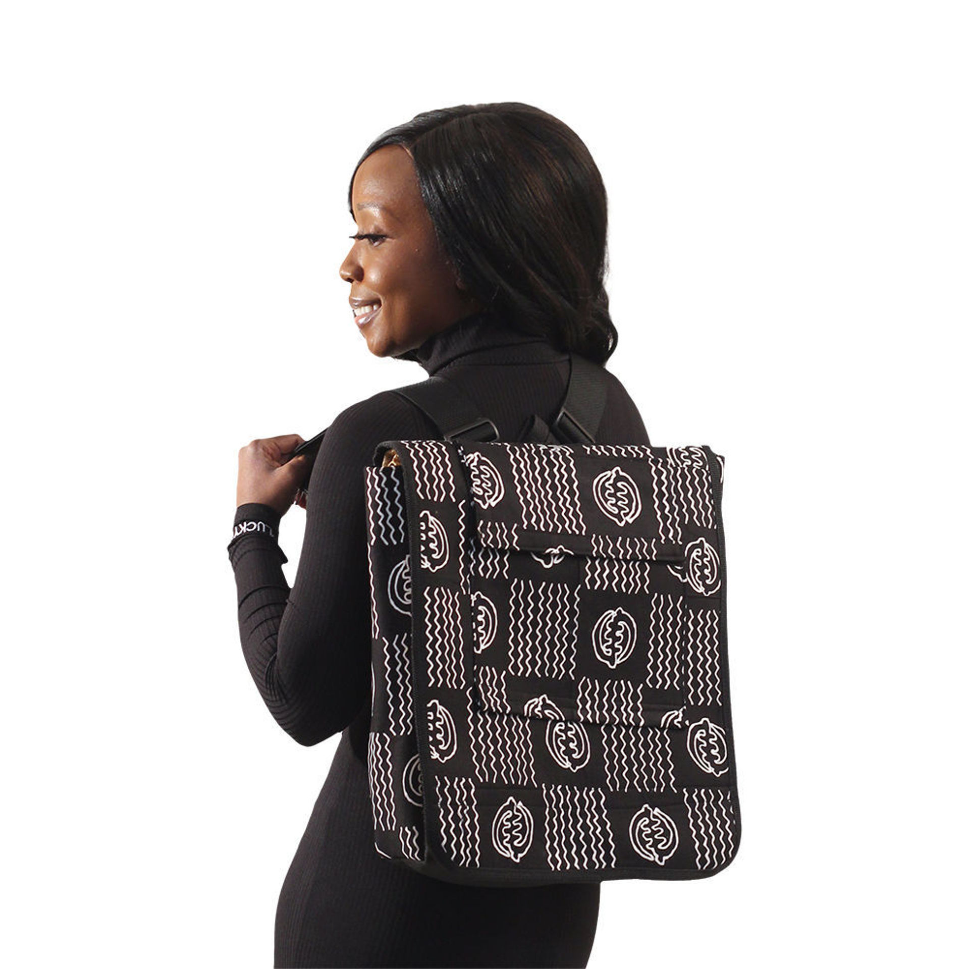 Picture of Black & White Gye Nyame Backpack