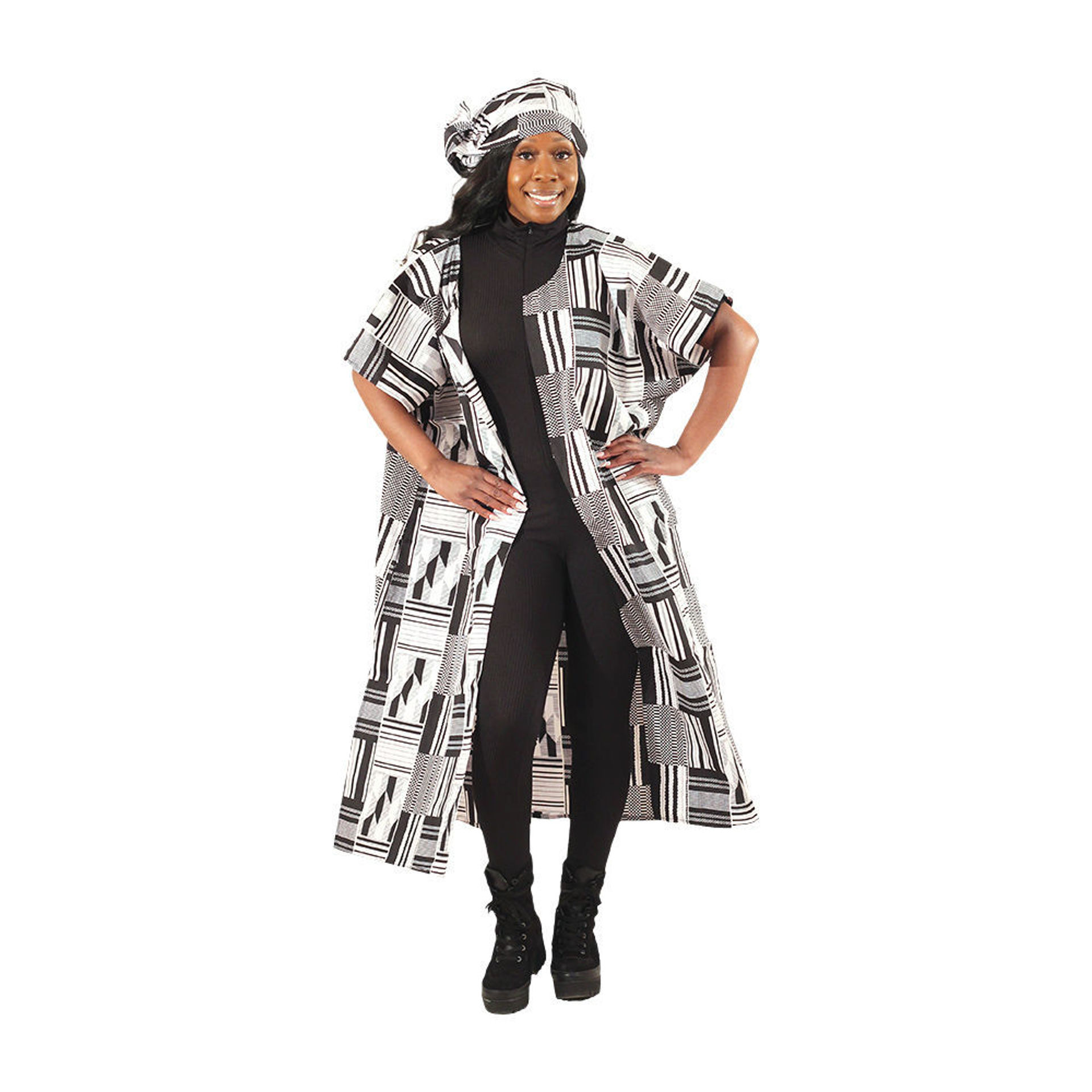 Picture of Black & White Open Kaftan Style-B