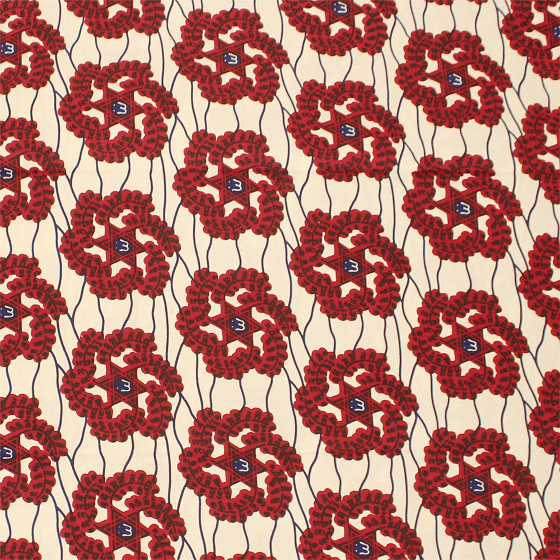 Picture of Burgundy Star Pattern Fabric
