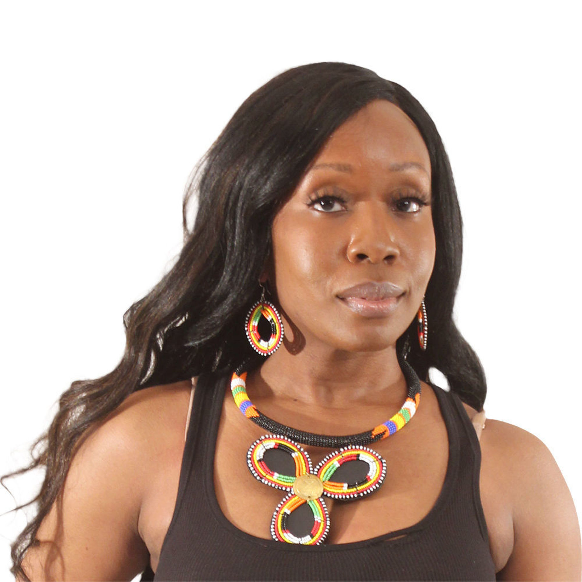 Picture of Maasai Bead Petal Necklace Set: Multi