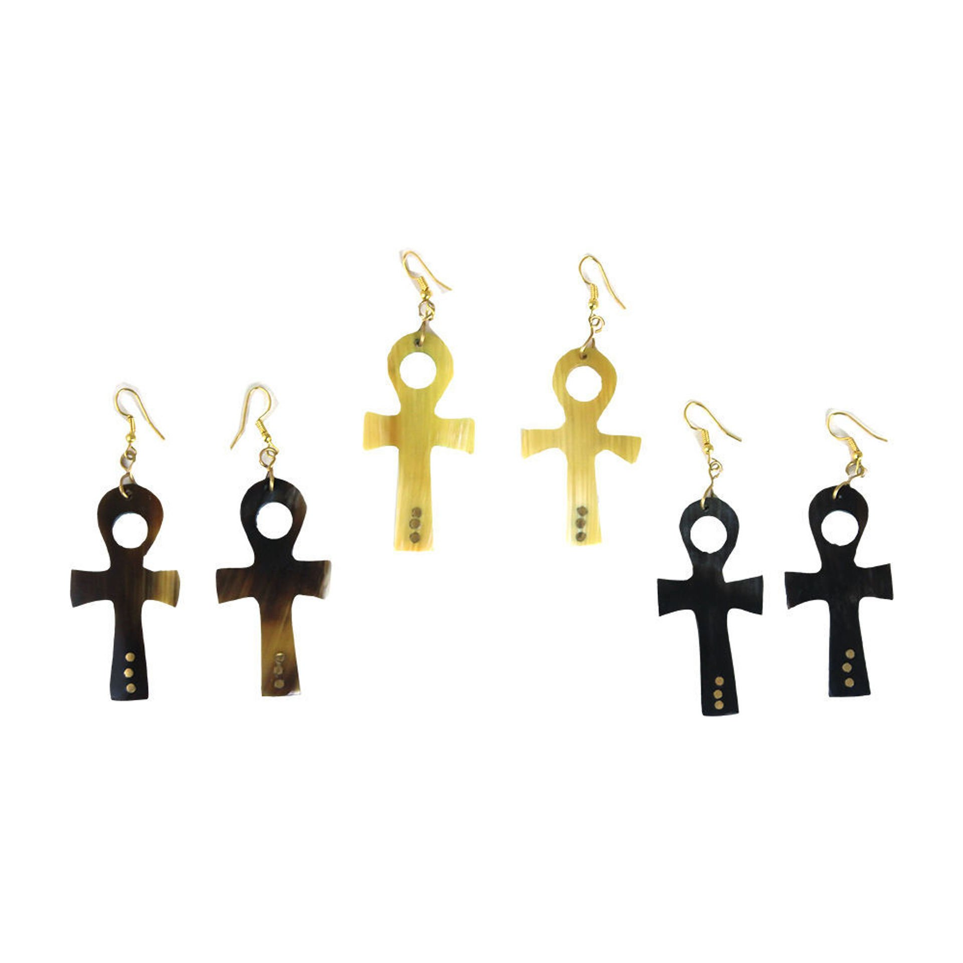 Picture of Set Of 3 Horn Ankh Earrings: ASSORTED