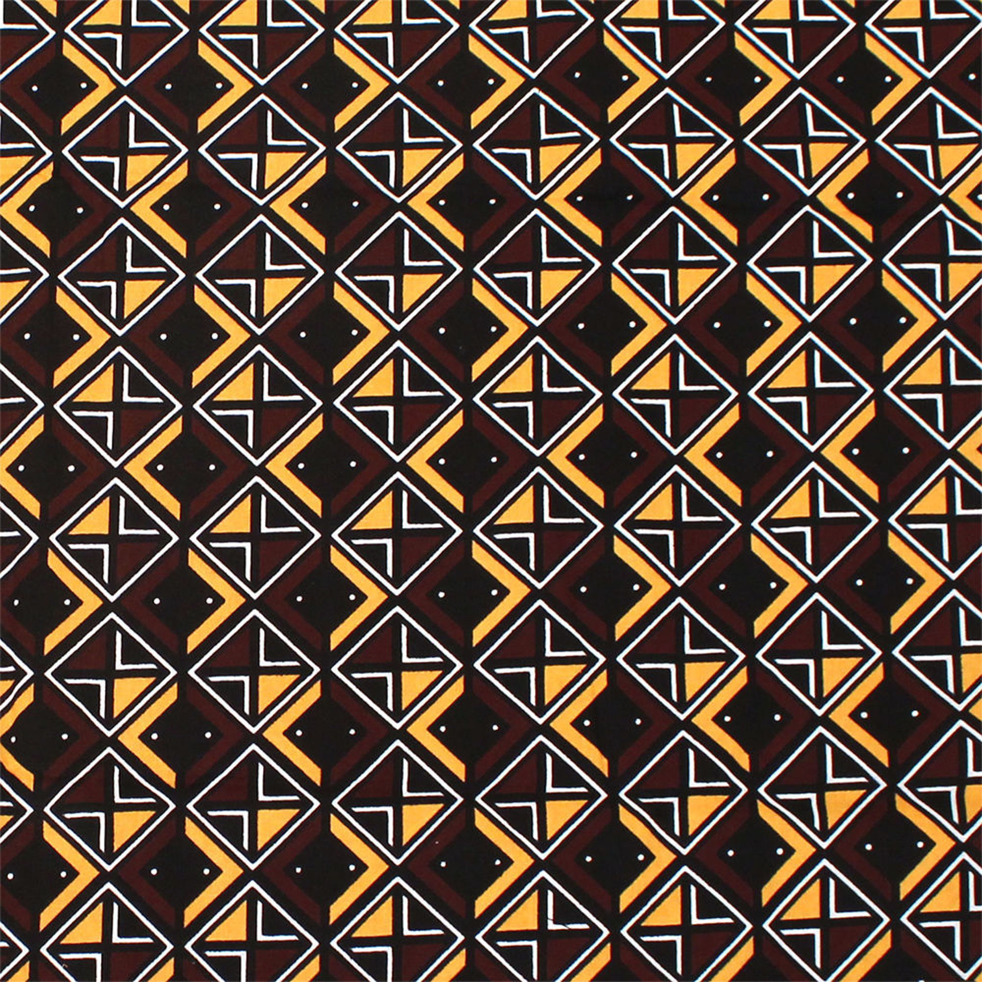 Picture of African Print Brown/White/Mustard Fabric